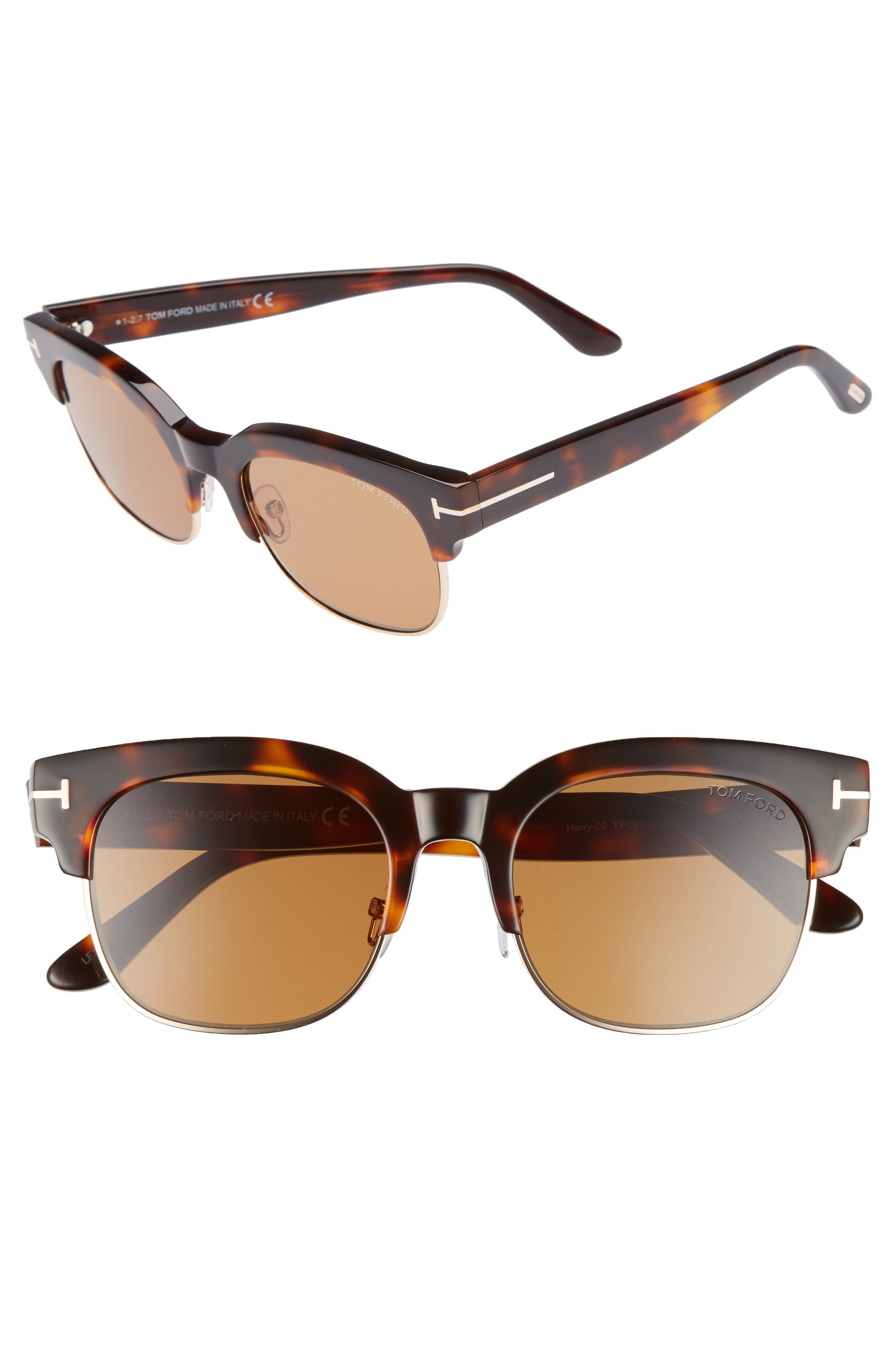 Tom Ford Harry 53mm Half-Rim Sunglasses