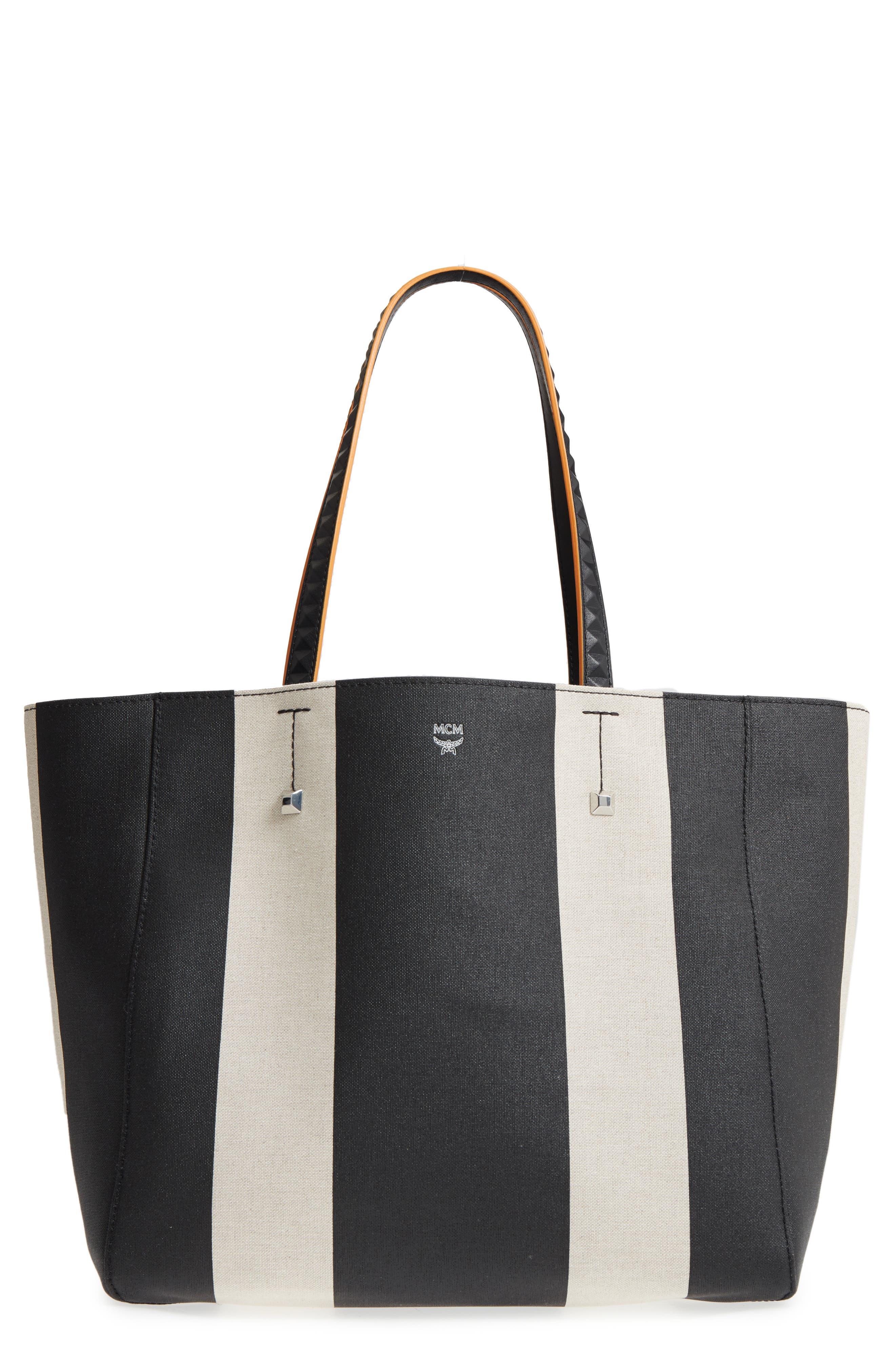 Ilse Medium East/West Stripe Canvas Shopper,                             Main thumbnail 1, color,                             Black