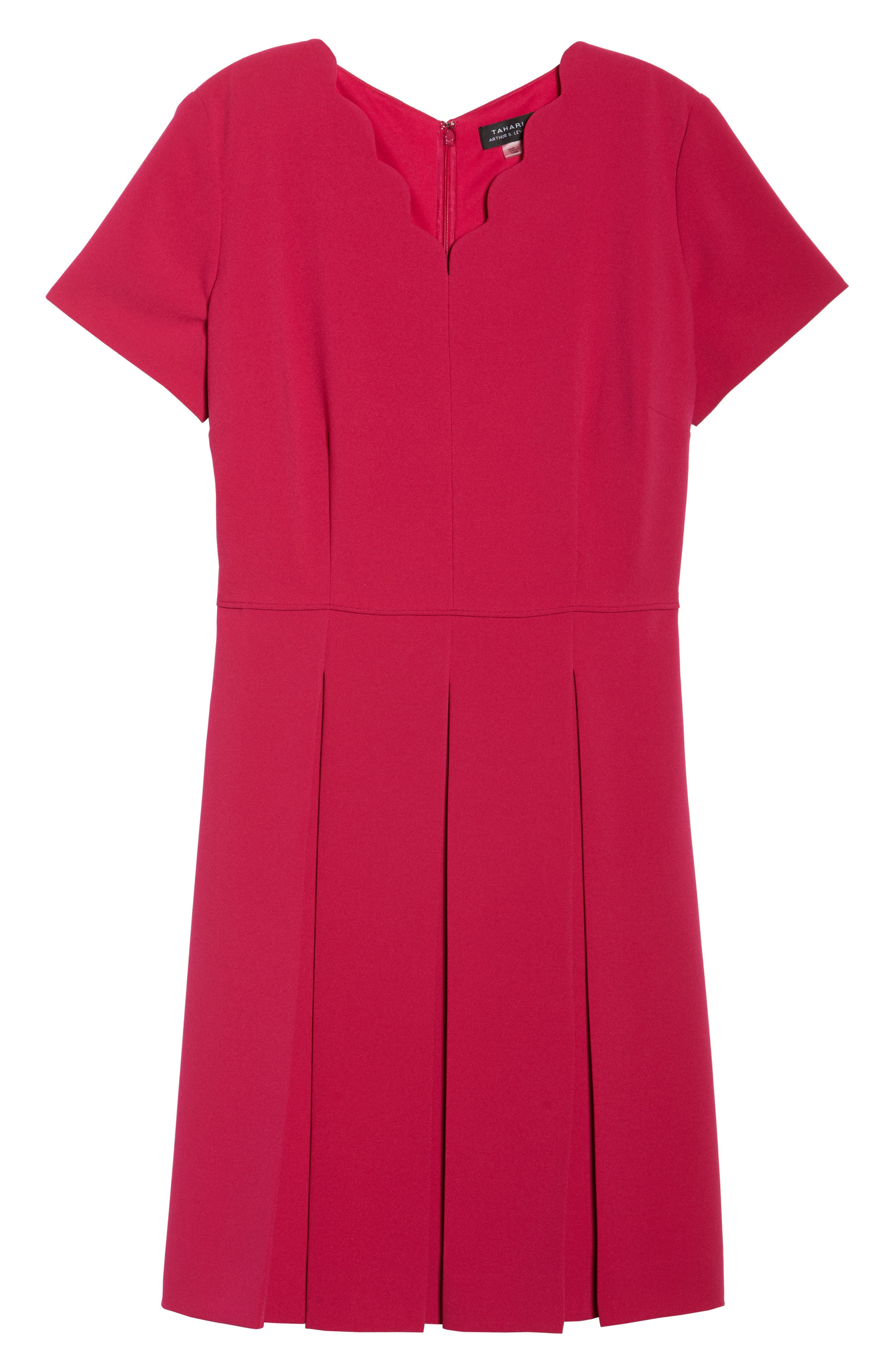 Alternate Image 6  - Tahari Scallop Neck A-Line Dress (Plus Size)