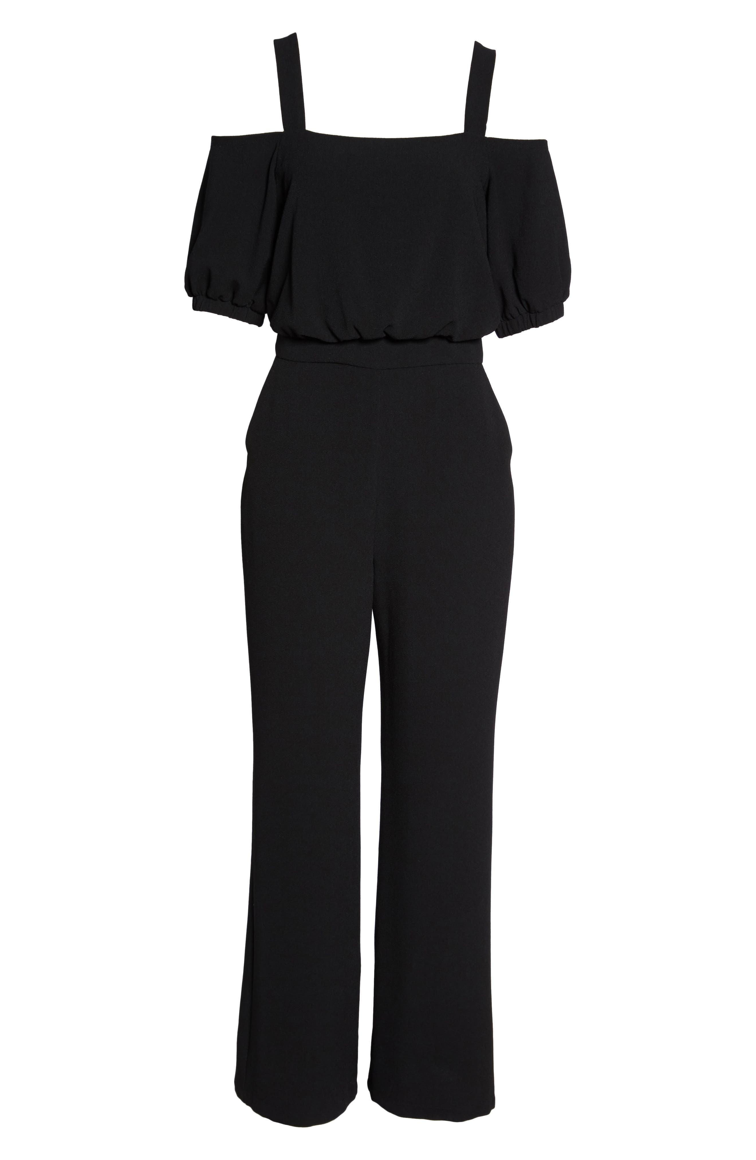 Cold Shoulder Blouson Jumpsuit,                             Alternate thumbnail 6, color,                             Black