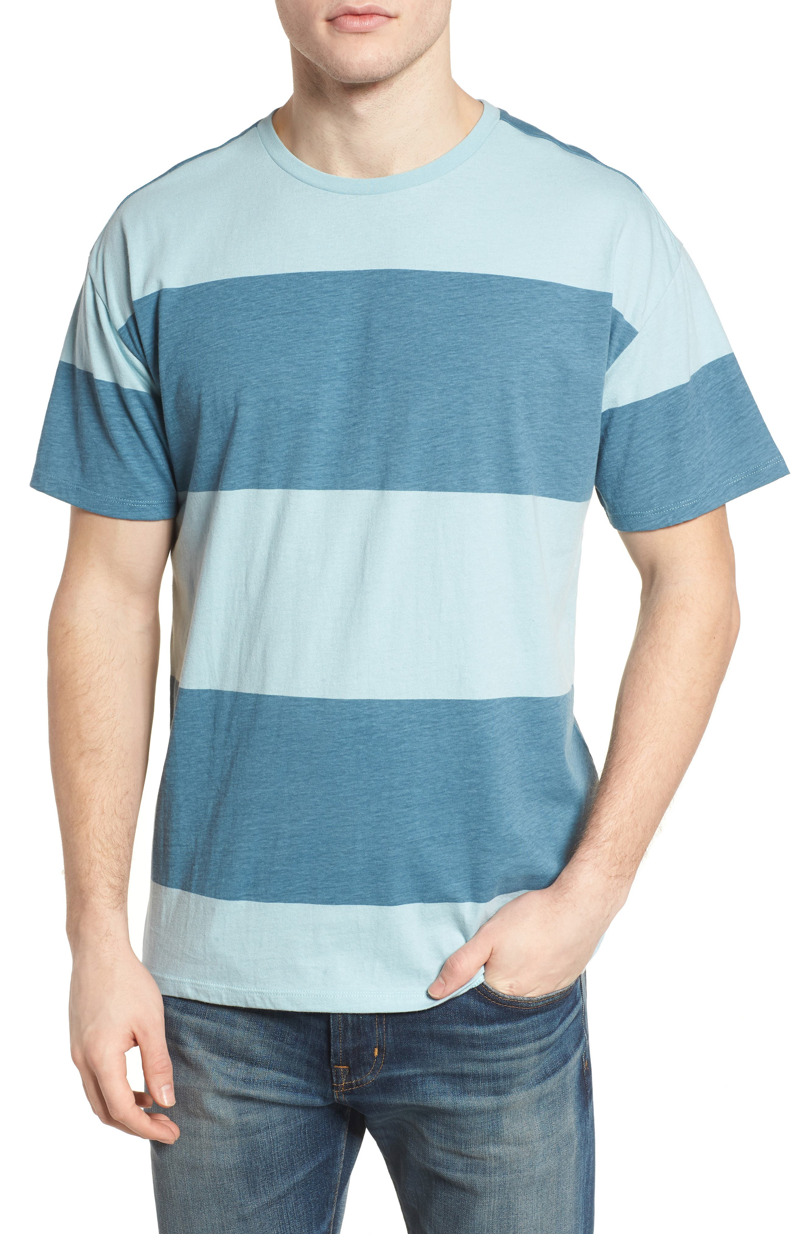 Rugby T-Shirt,                         Main,                         color, Noise Aqua / Obsidian