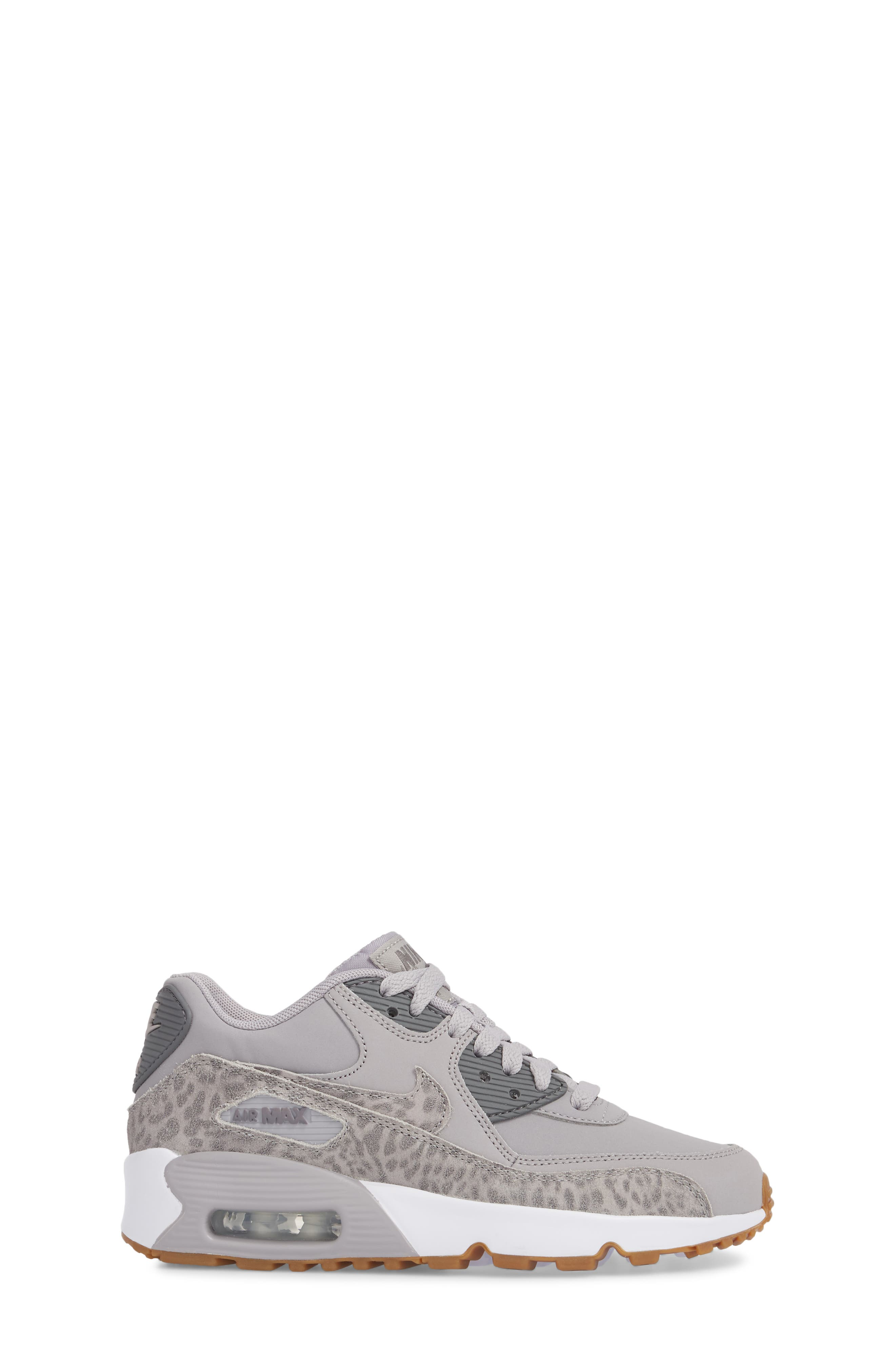 Air Max 90 Leather Sneaker,                             Alternate thumbnail 3, color,                             Atmosphere Grey/ Smoke/ White