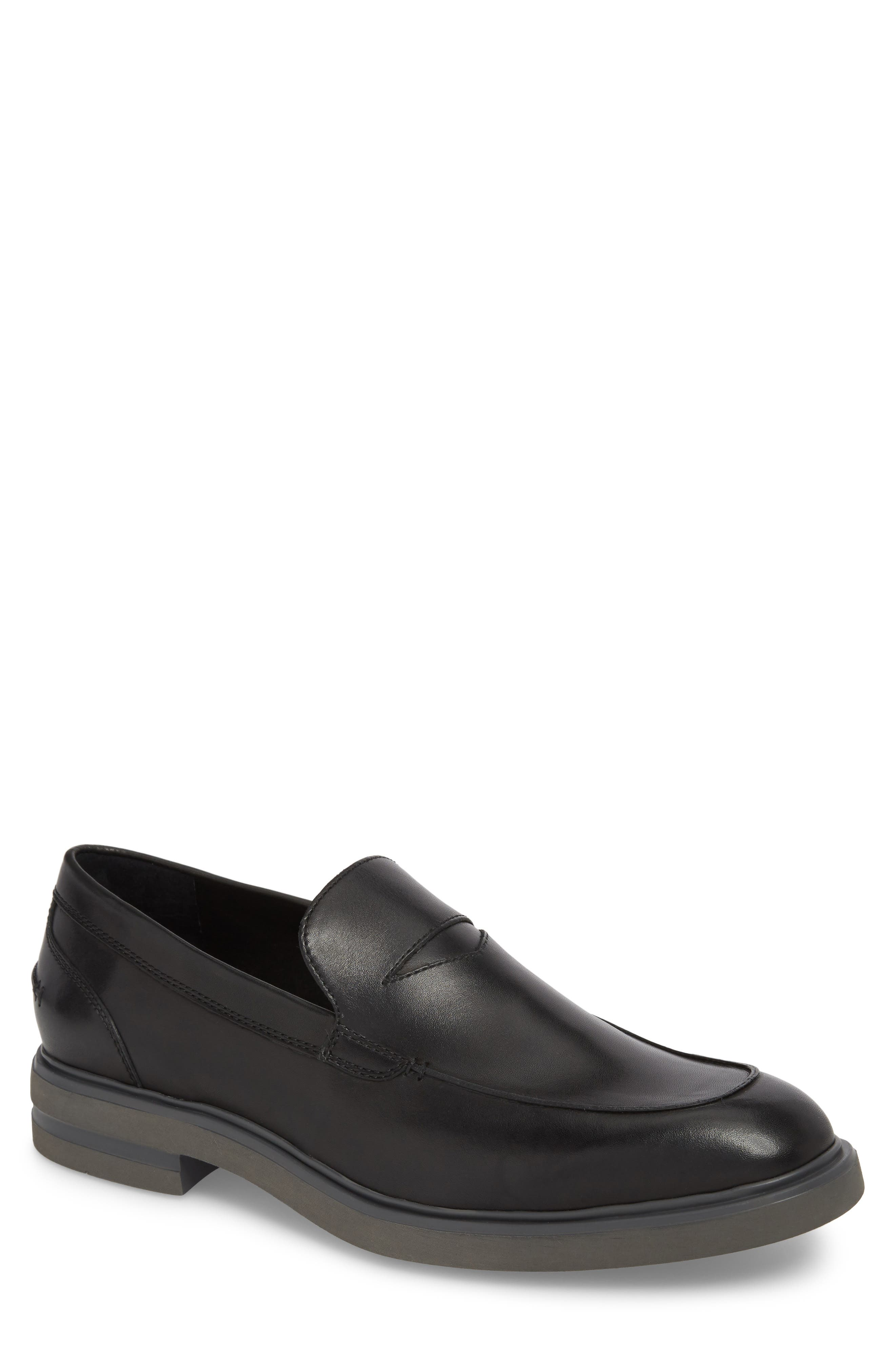 Edwyn Deconstructed Penny Loafer,                         Main,                         color, Black Leather