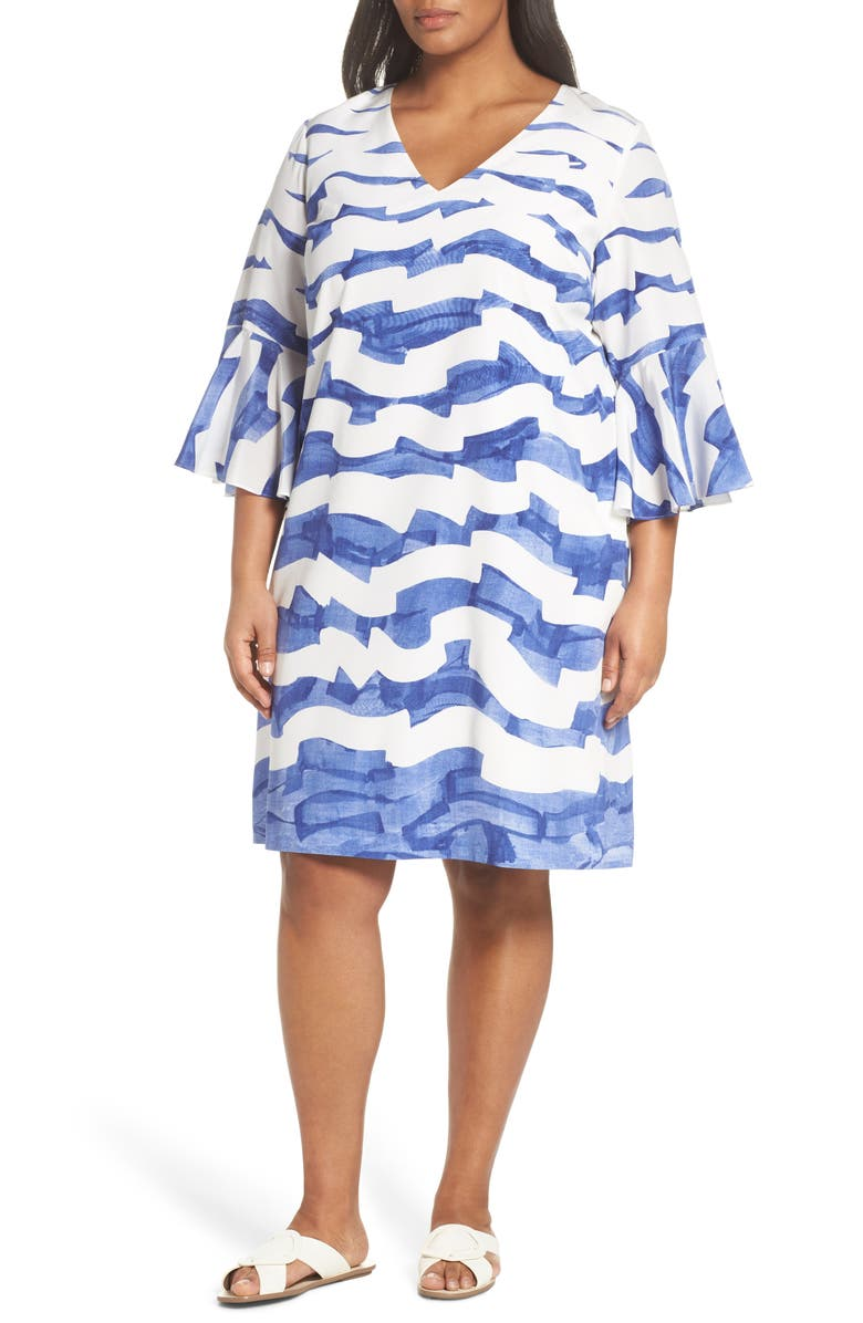 Holly Print Bell Sleeve Silk Shift Dress