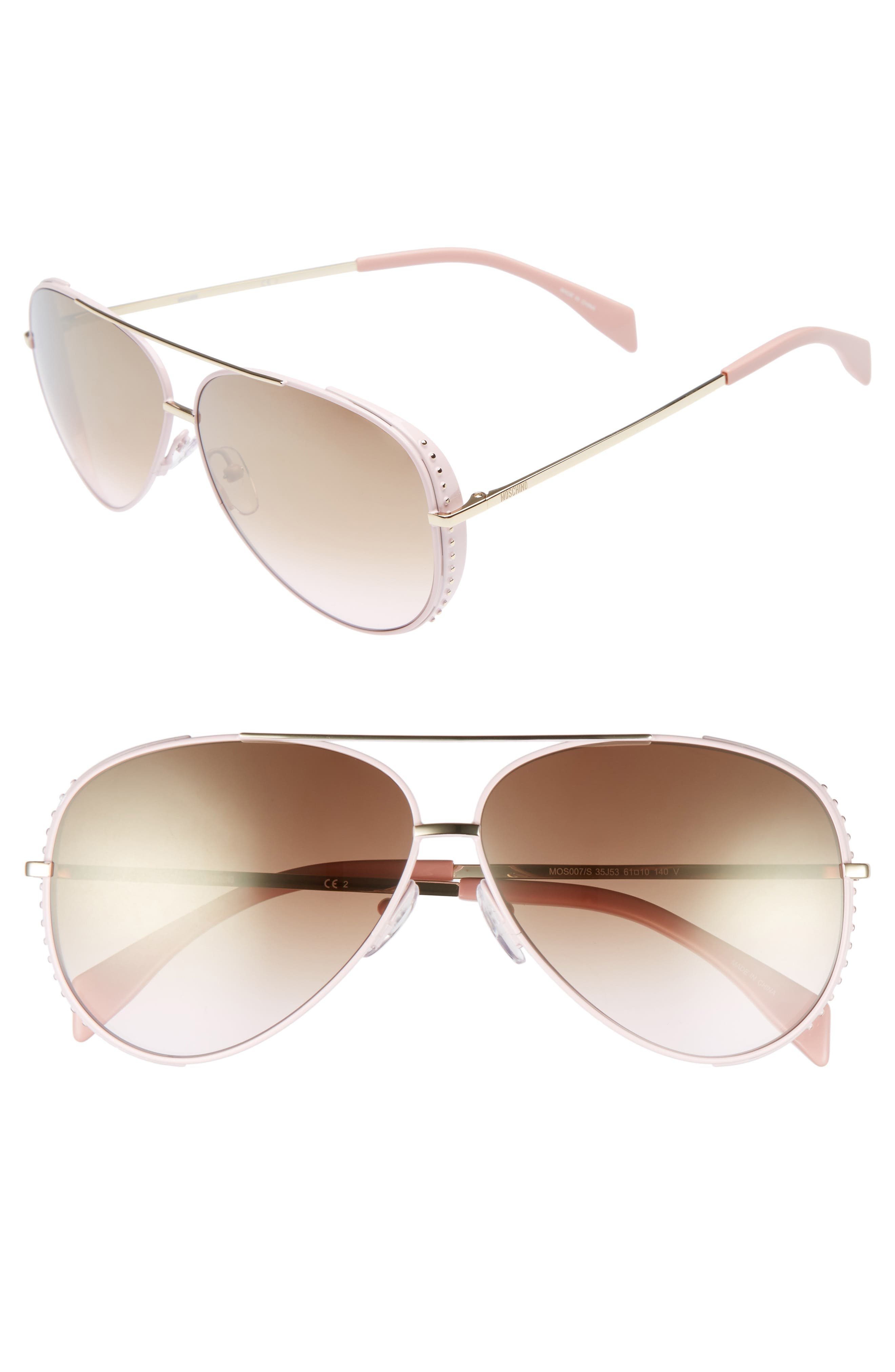 61mm Metal Aviator Sunglasses,                             Main thumbnail 1, color,                             Pink