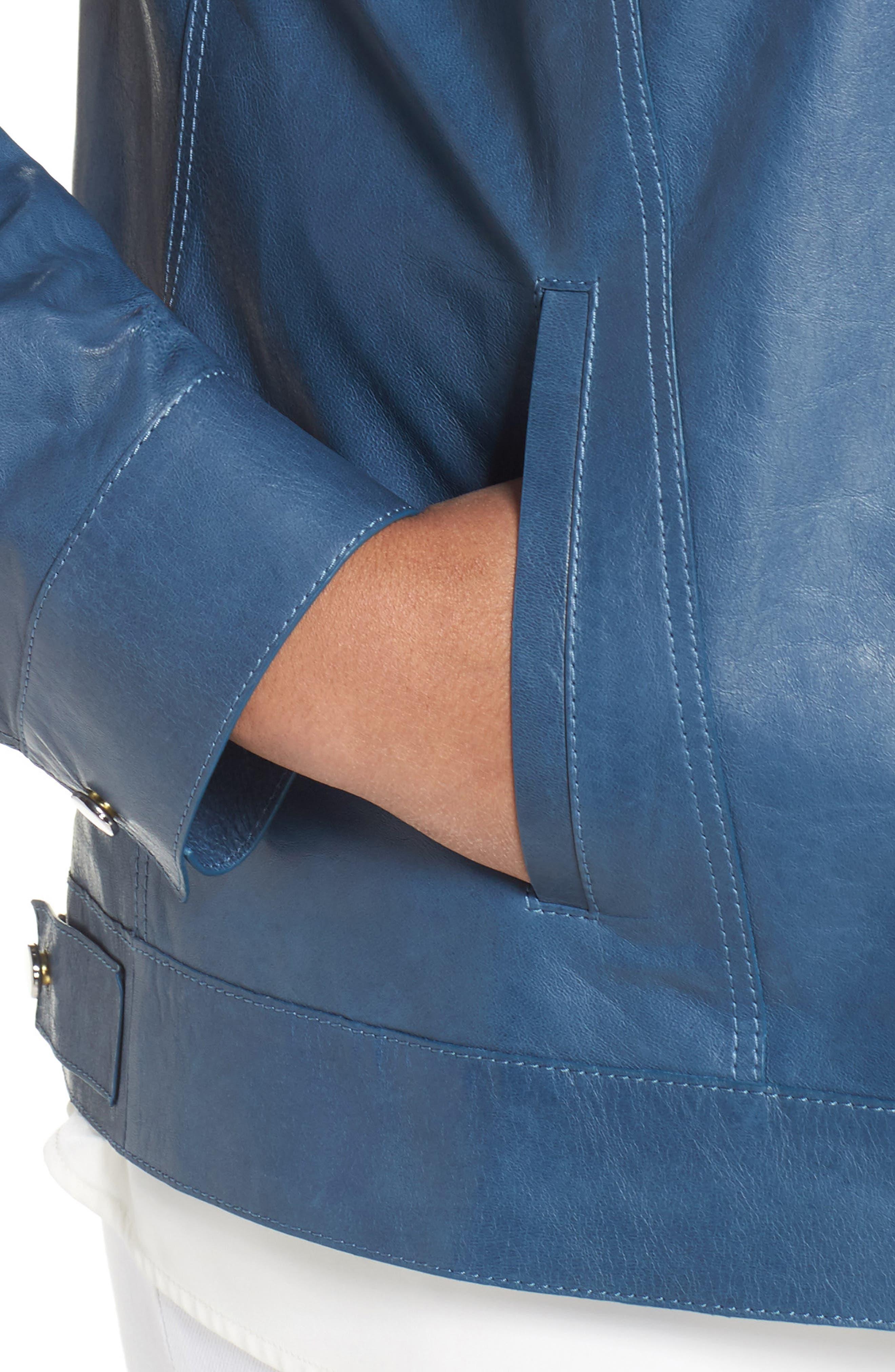 Destiny Leather Jacket,                             Alternate thumbnail 4, color,                             Placid Blue