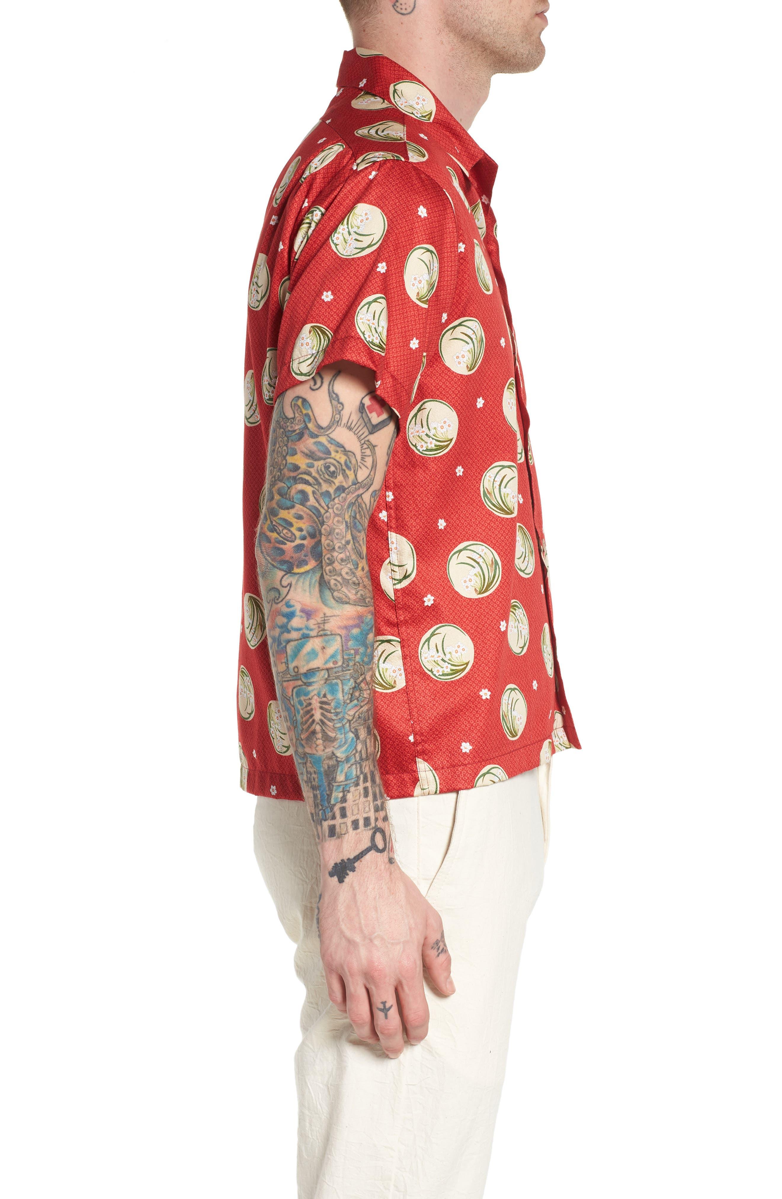 Japanese Springtime Woven Shirt,                             Alternate thumbnail 3, color,                             Red