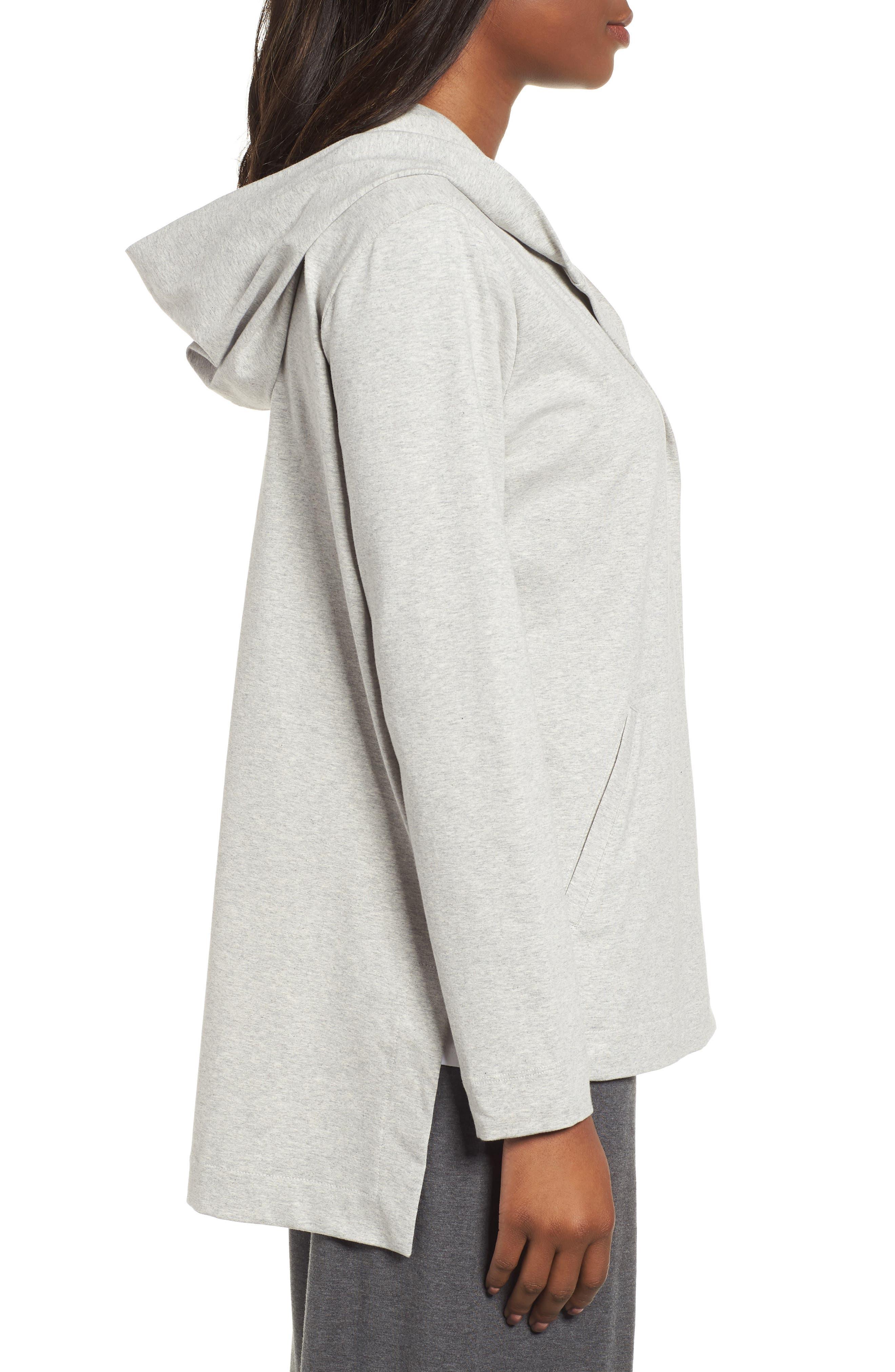 Hooded Stretch Organic Cotton Cardigan,                             Alternate thumbnail 3, color,                             Dark Pearl