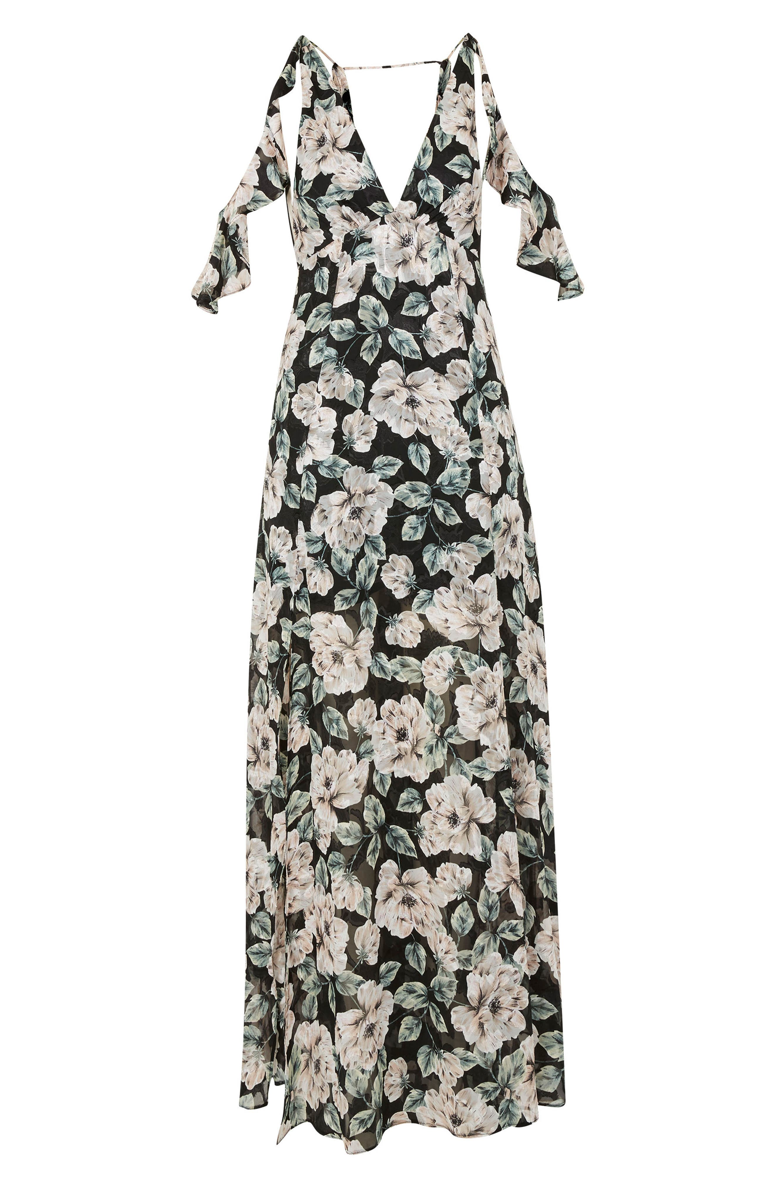 Devoré Floral Cold Shoulder Dress,                             Alternate thumbnail 4, color,                             Black Multi
