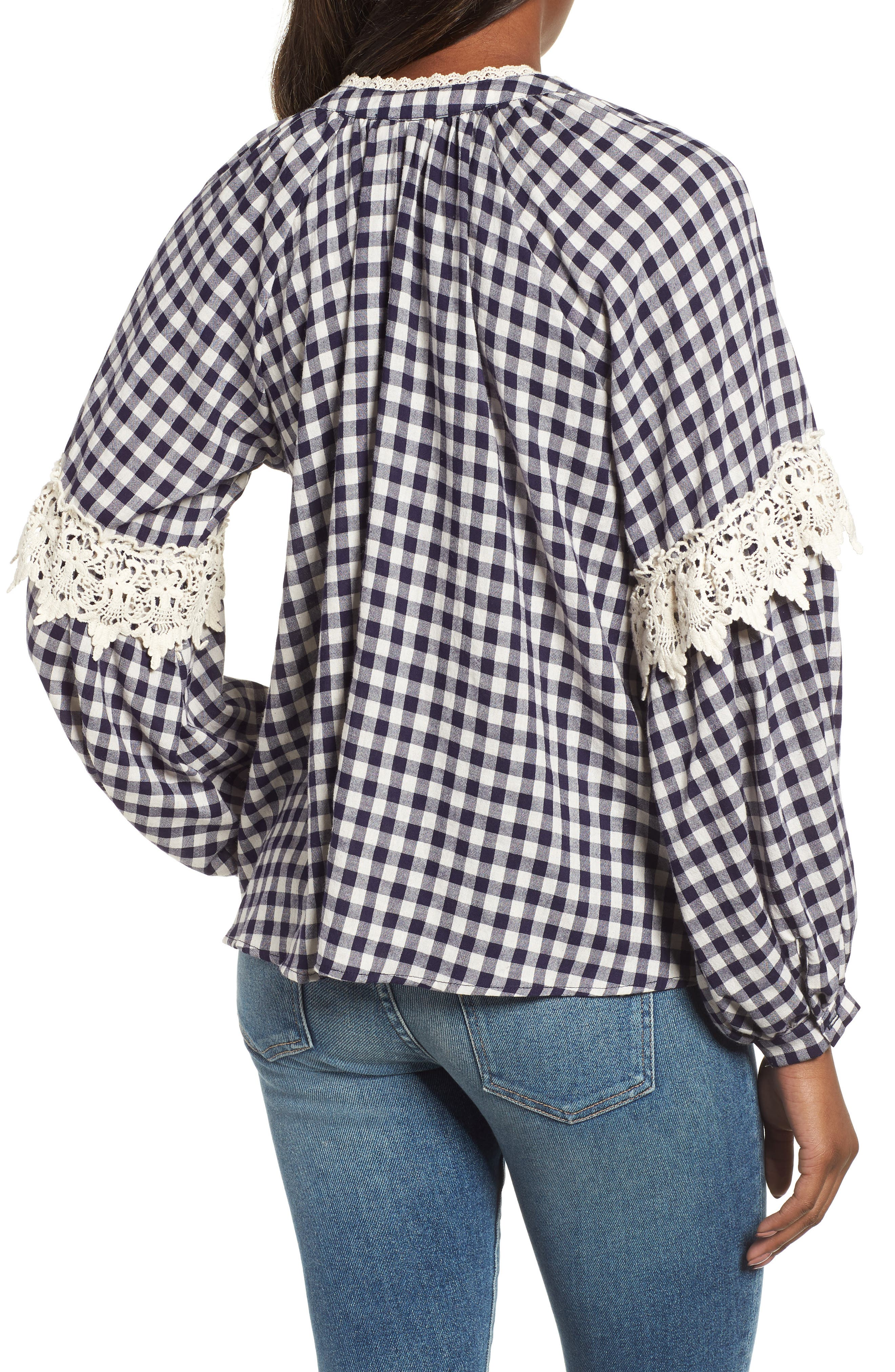Gingham Check Peasant Top,                             Alternate thumbnail 2, color,                             Navy White Gingham