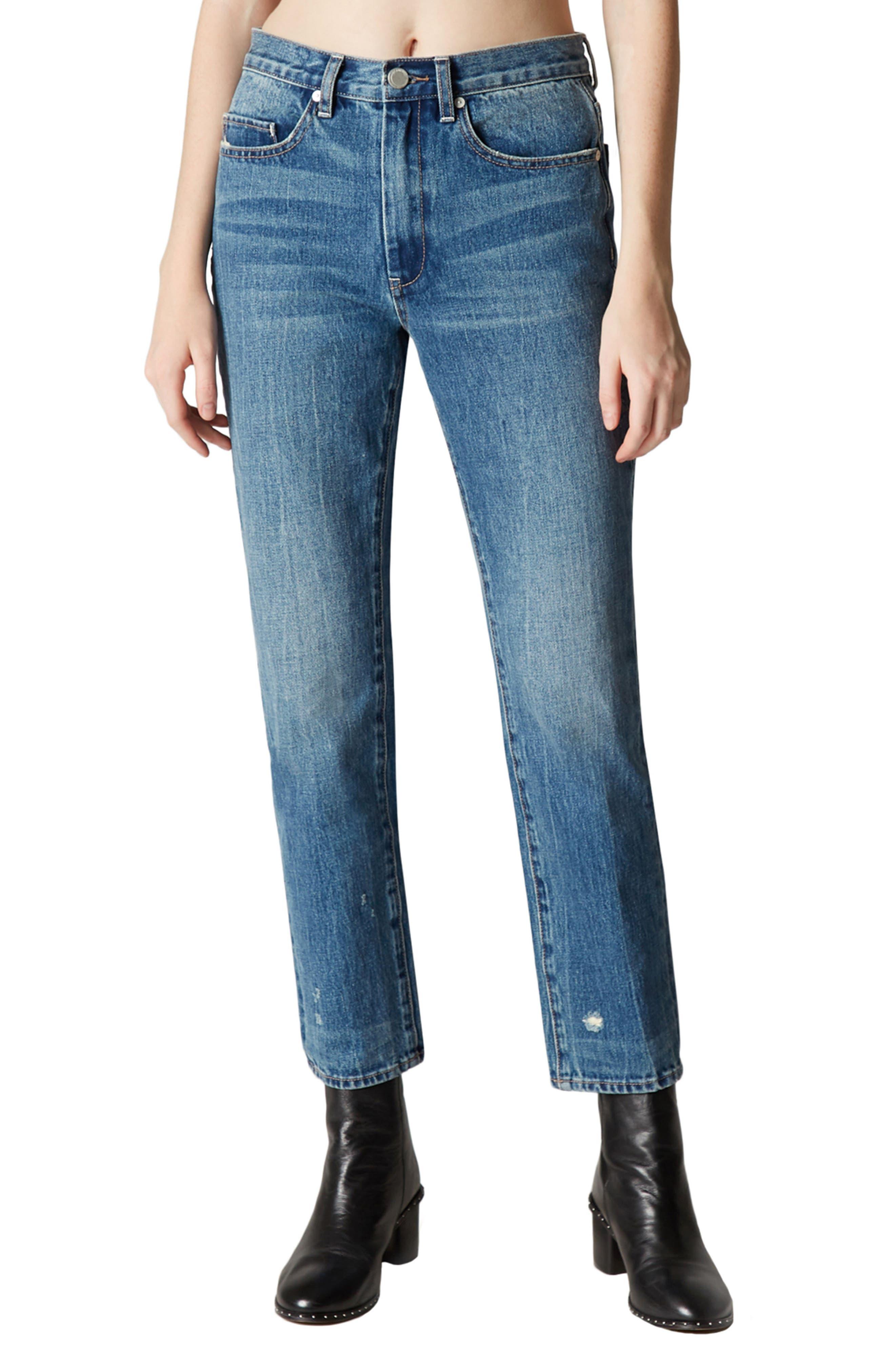 Empty Threat Straight Leg Jeans,                         Main,                         color, Blue