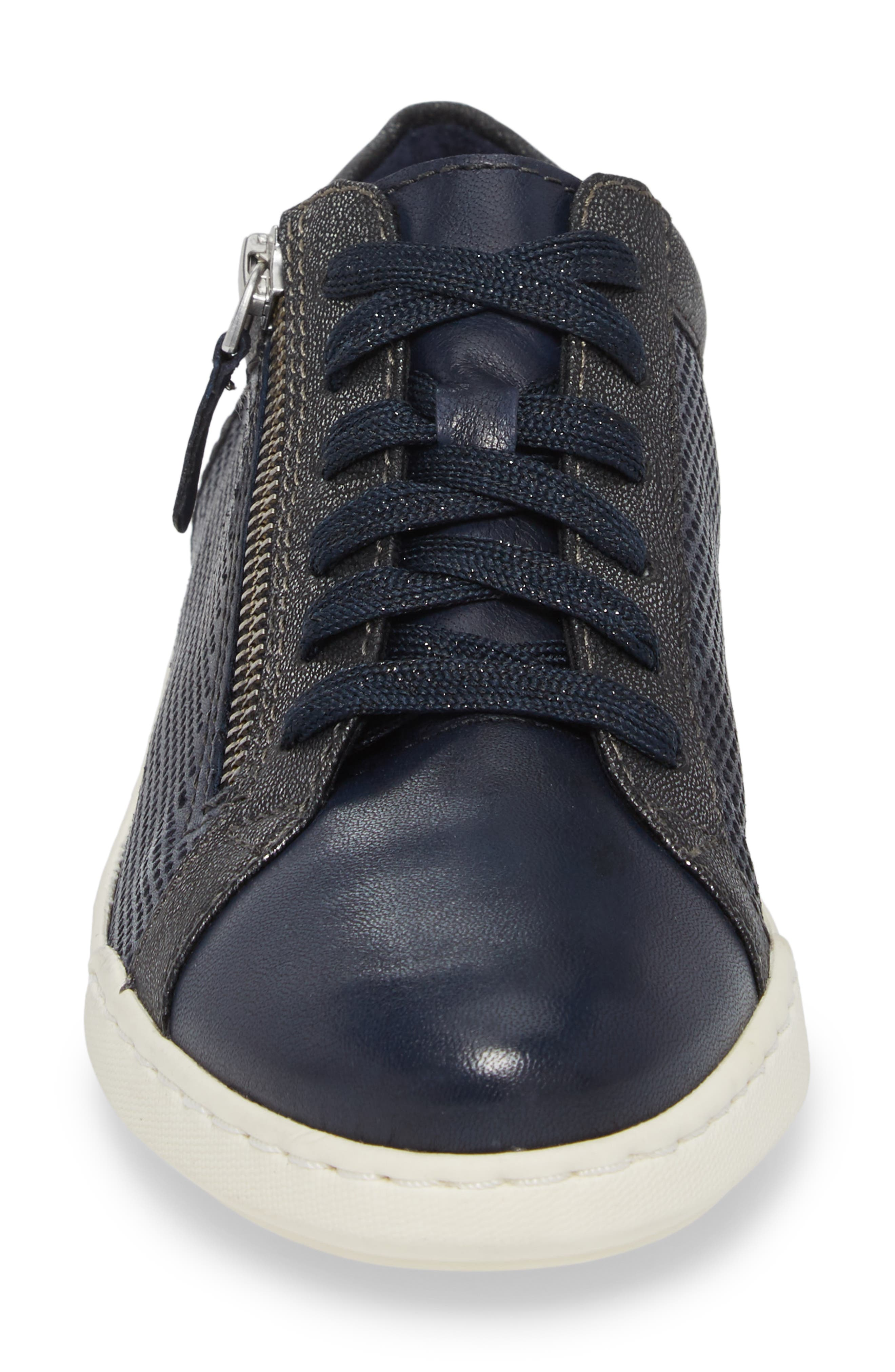 Freya Sneaker,                             Alternate thumbnail 4, color,                             Navy Leather
