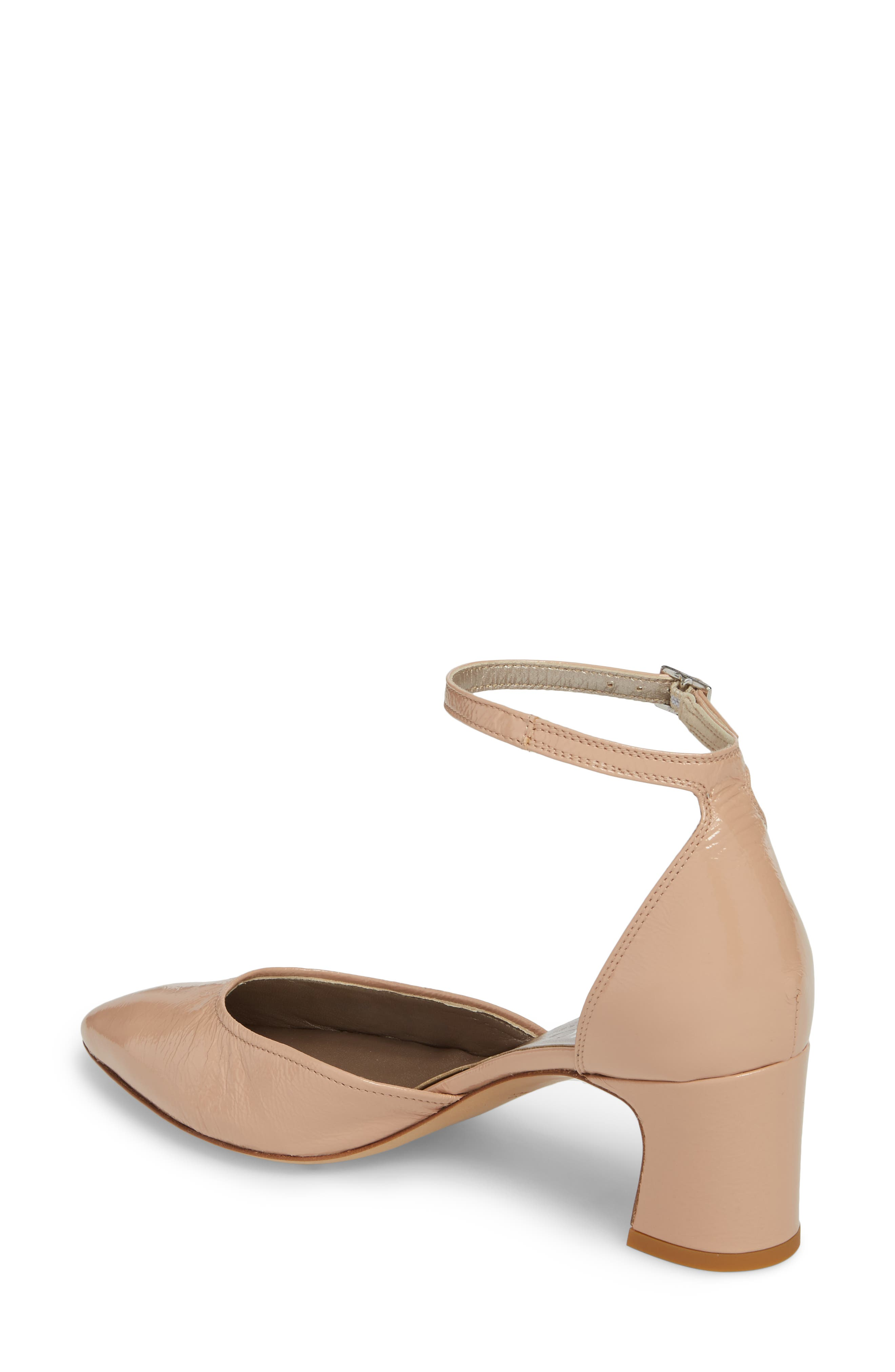 d'Orsay Ankle Strap Pump,                             Alternate thumbnail 2, color,                             Nude Glammy Leather