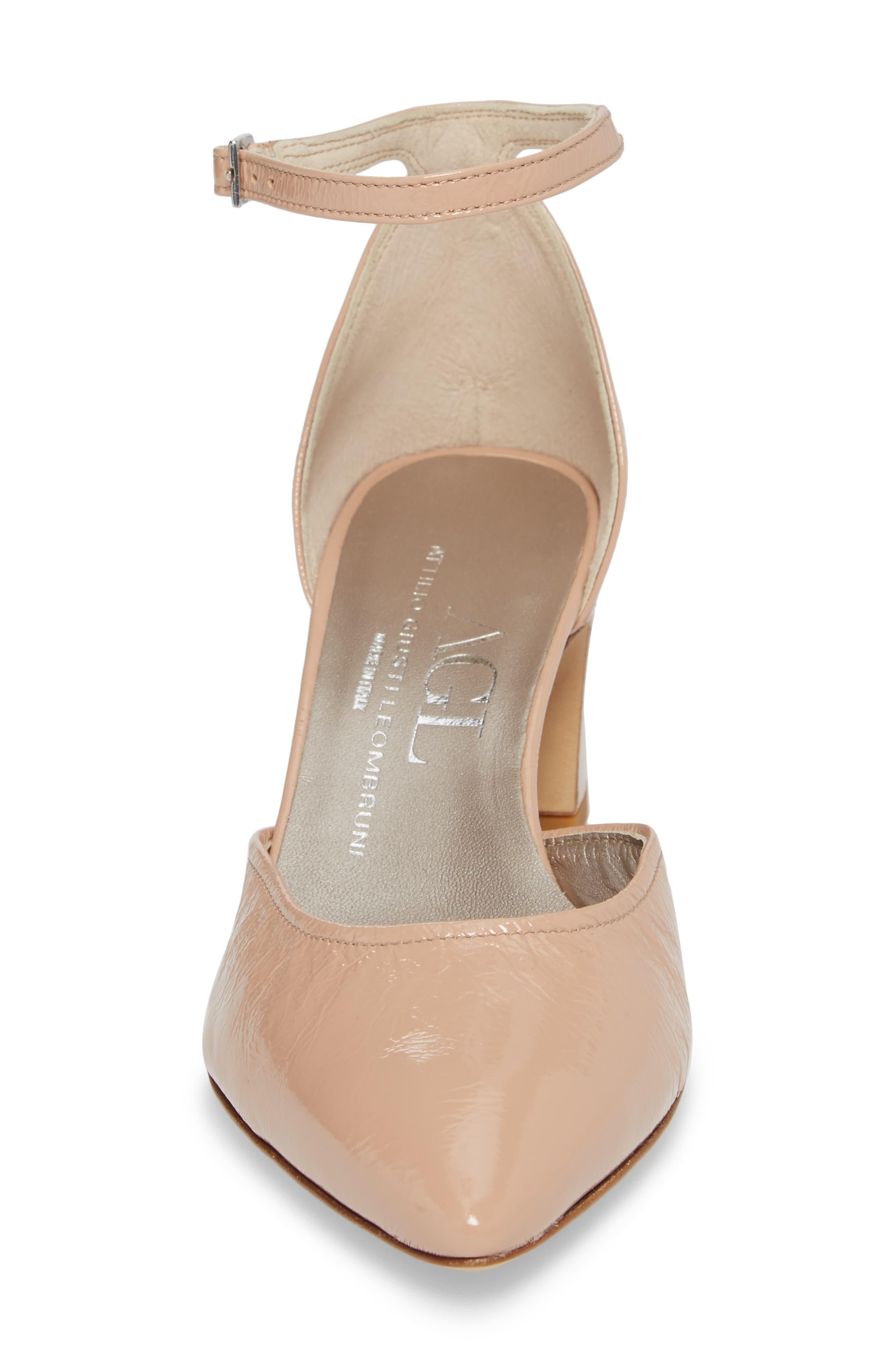 d'Orsay Ankle Strap Pump,                             Alternate thumbnail 4, color,                             Nude Glammy Leather