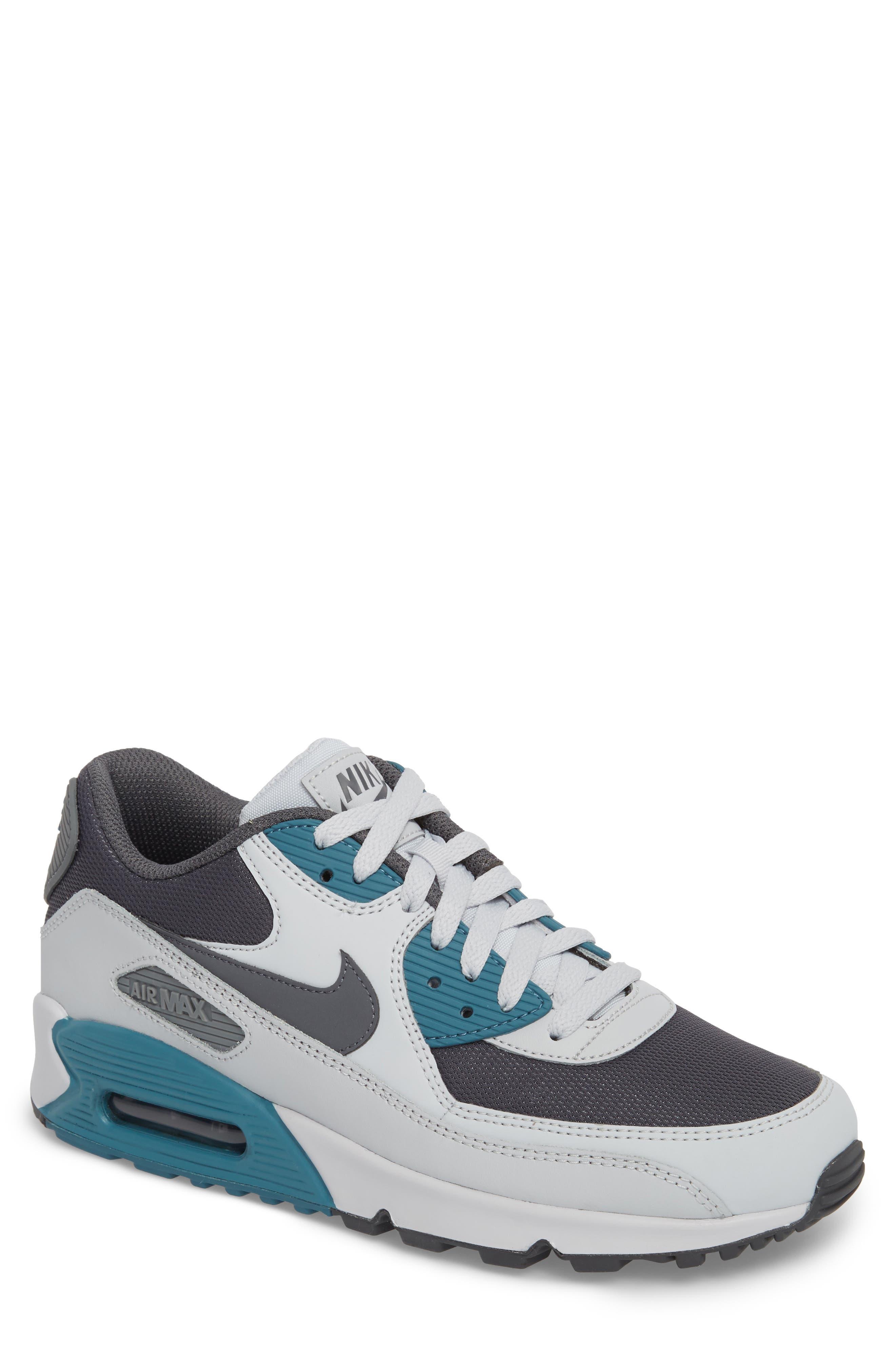'Air Max 90 Essential' Sneaker,                             Main thumbnail 1, color,                             Pure Platinum/ Cool Grey/ Aqua