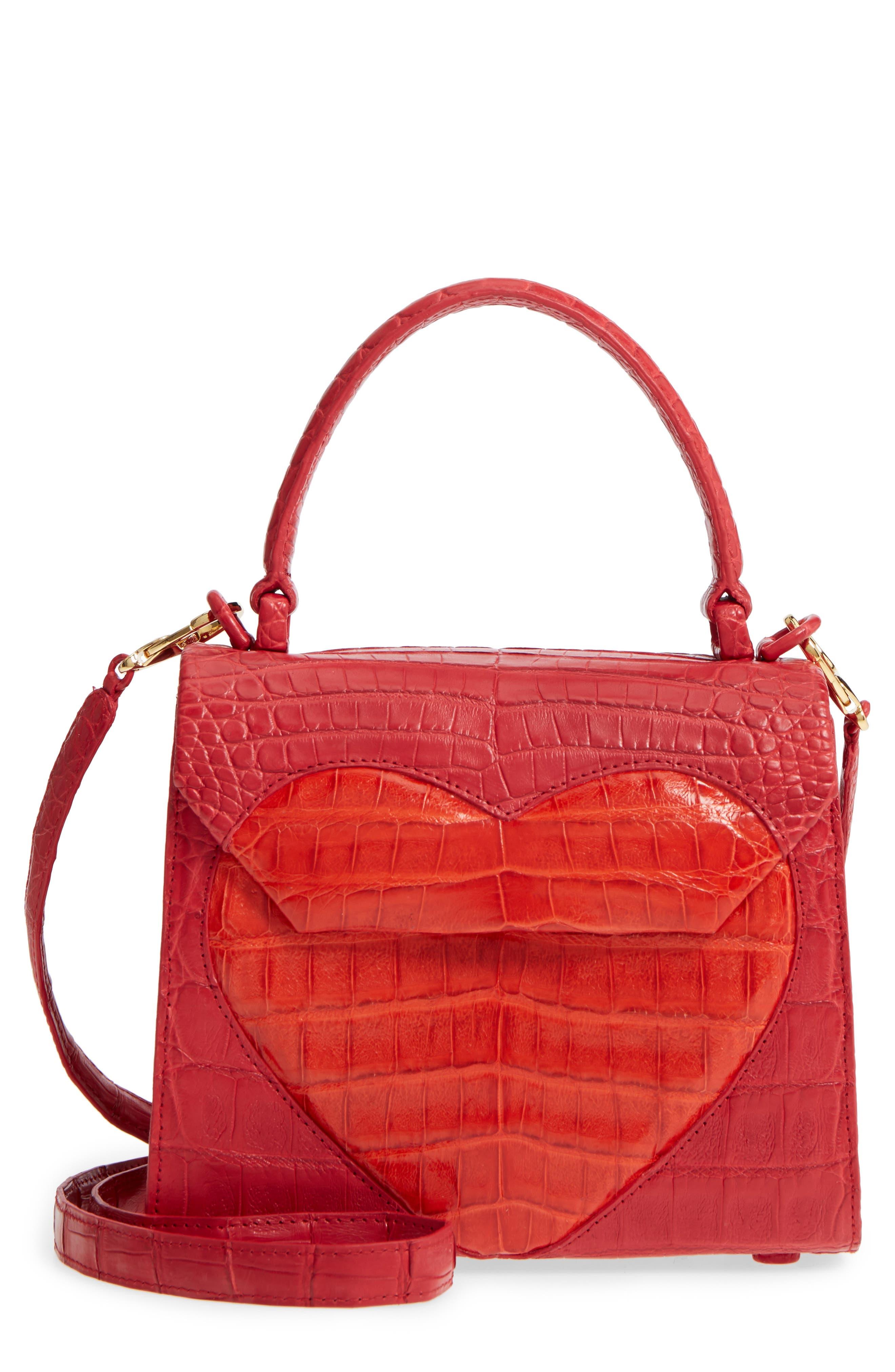 Nancy Gonzalez Heart Lily Genuine Crocodile Crossbody Bag