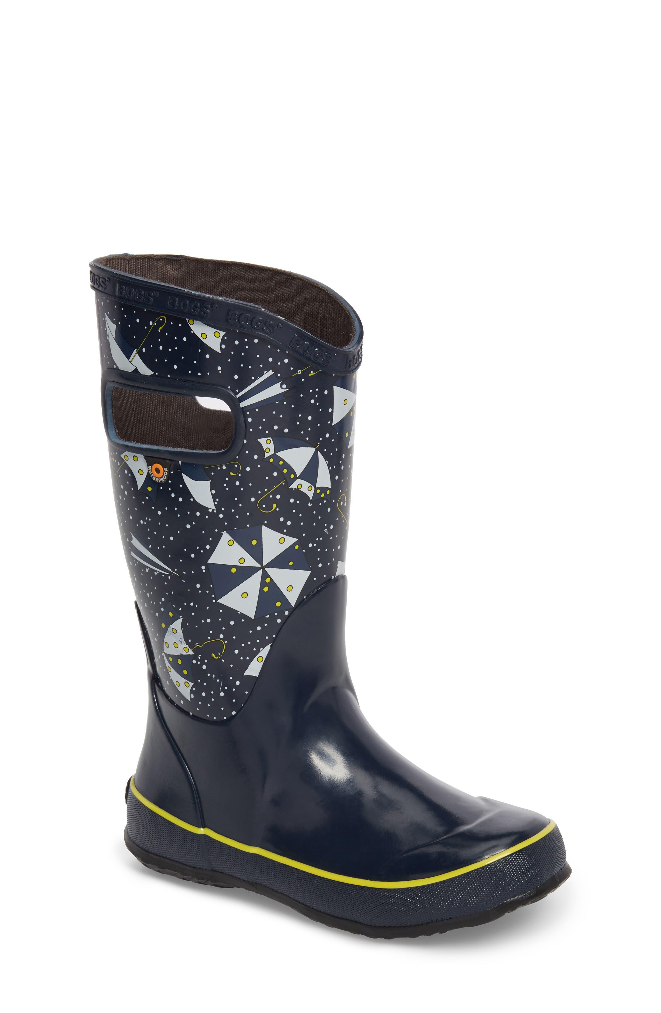 Umbrellas Waterproof Rubber Rain Boot,                             Main thumbnail 1, color,                             Dark Blue Multi