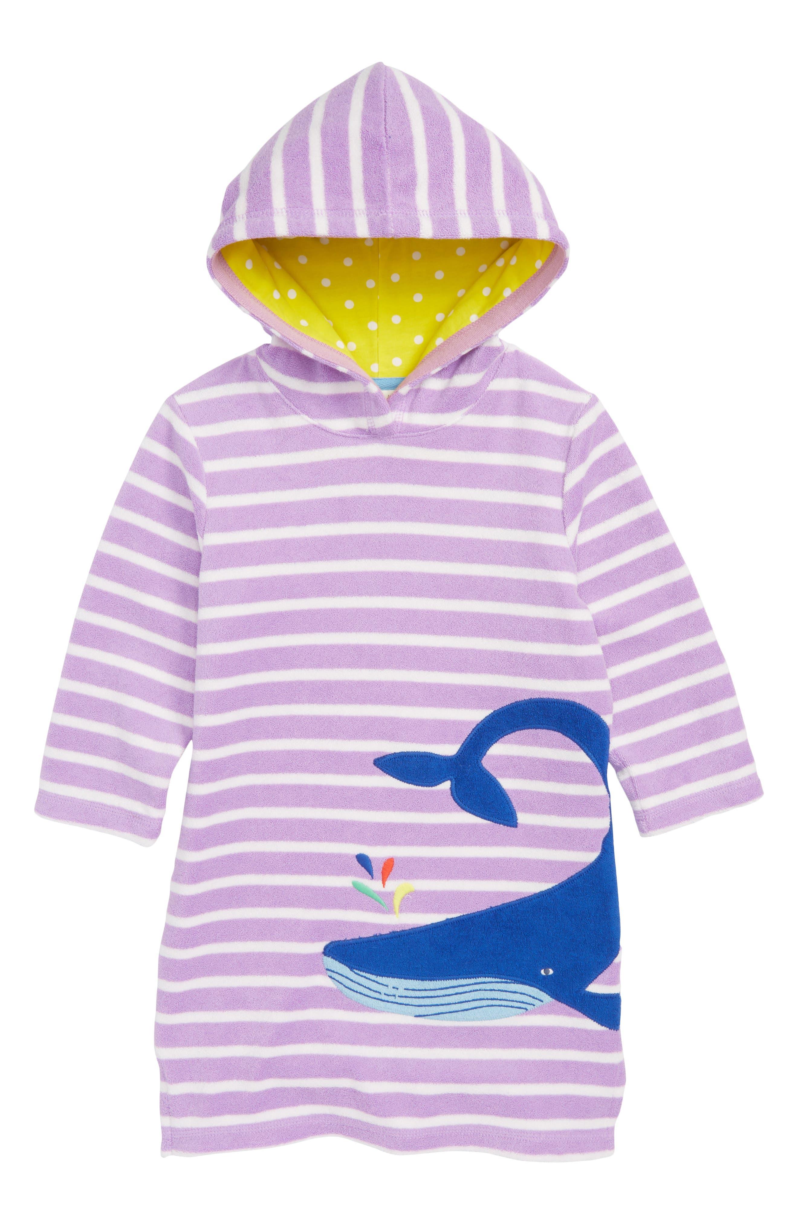 Appliqué Hooded Toweling Beach Dress,                             Main thumbnail 1, color,                             Lavender/ Ivory