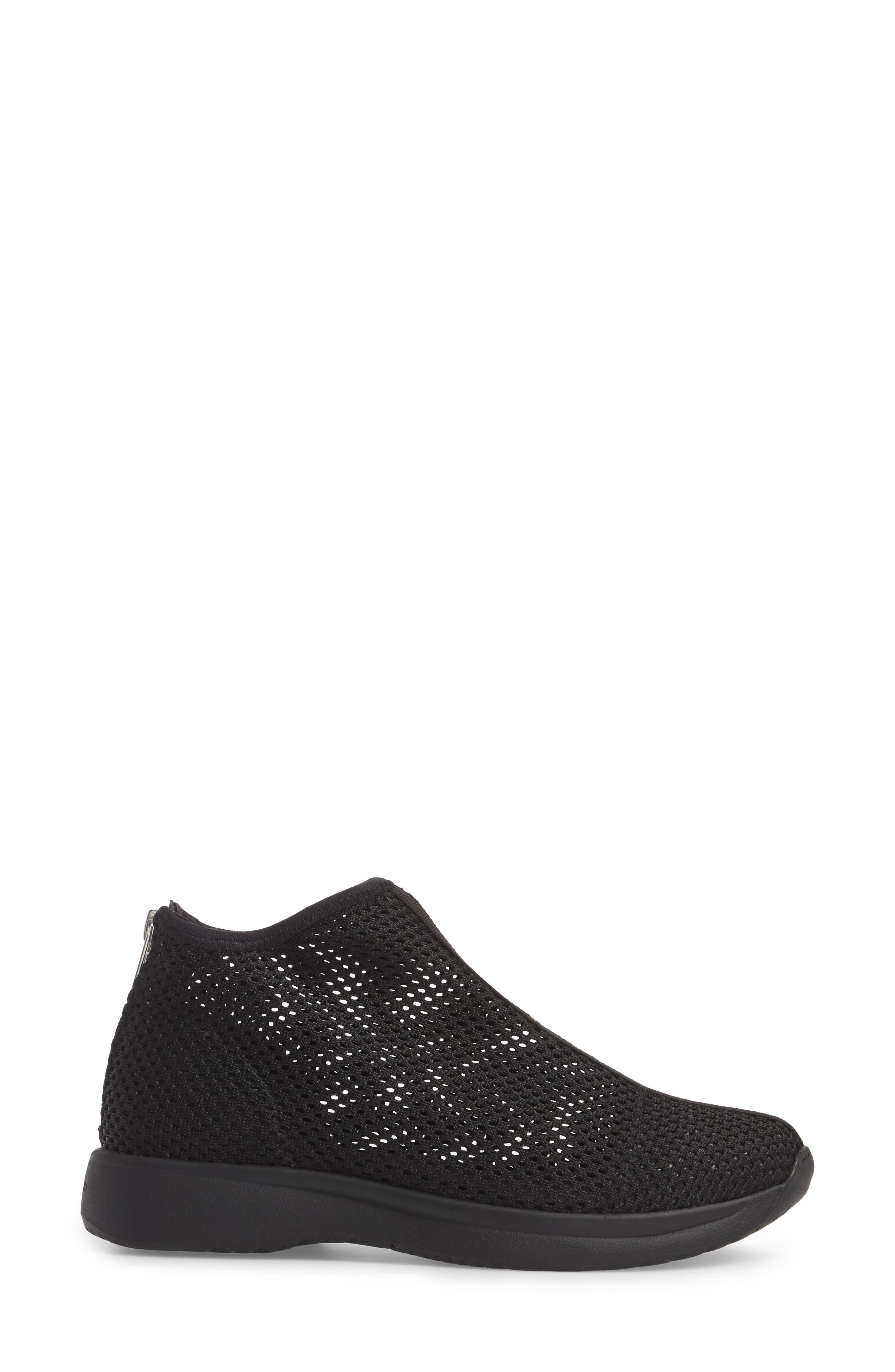 Cintia Sneaker,                             Alternate thumbnail 3, color,                             Black Fabric