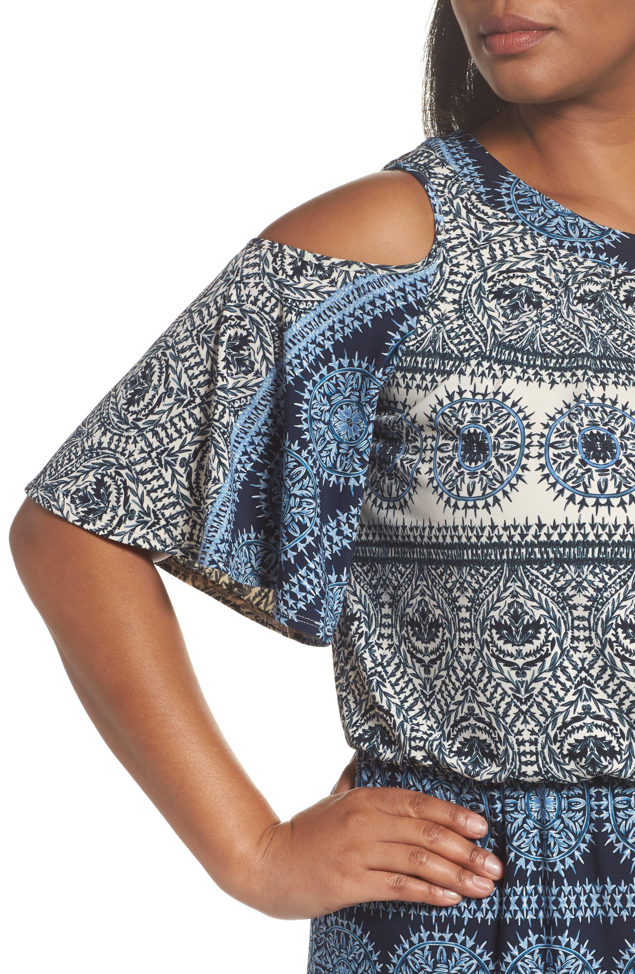 Print Cold Shoulder Blouson Maxi Dress,                             Alternate thumbnail 4, color,                             Ivory/ Blue