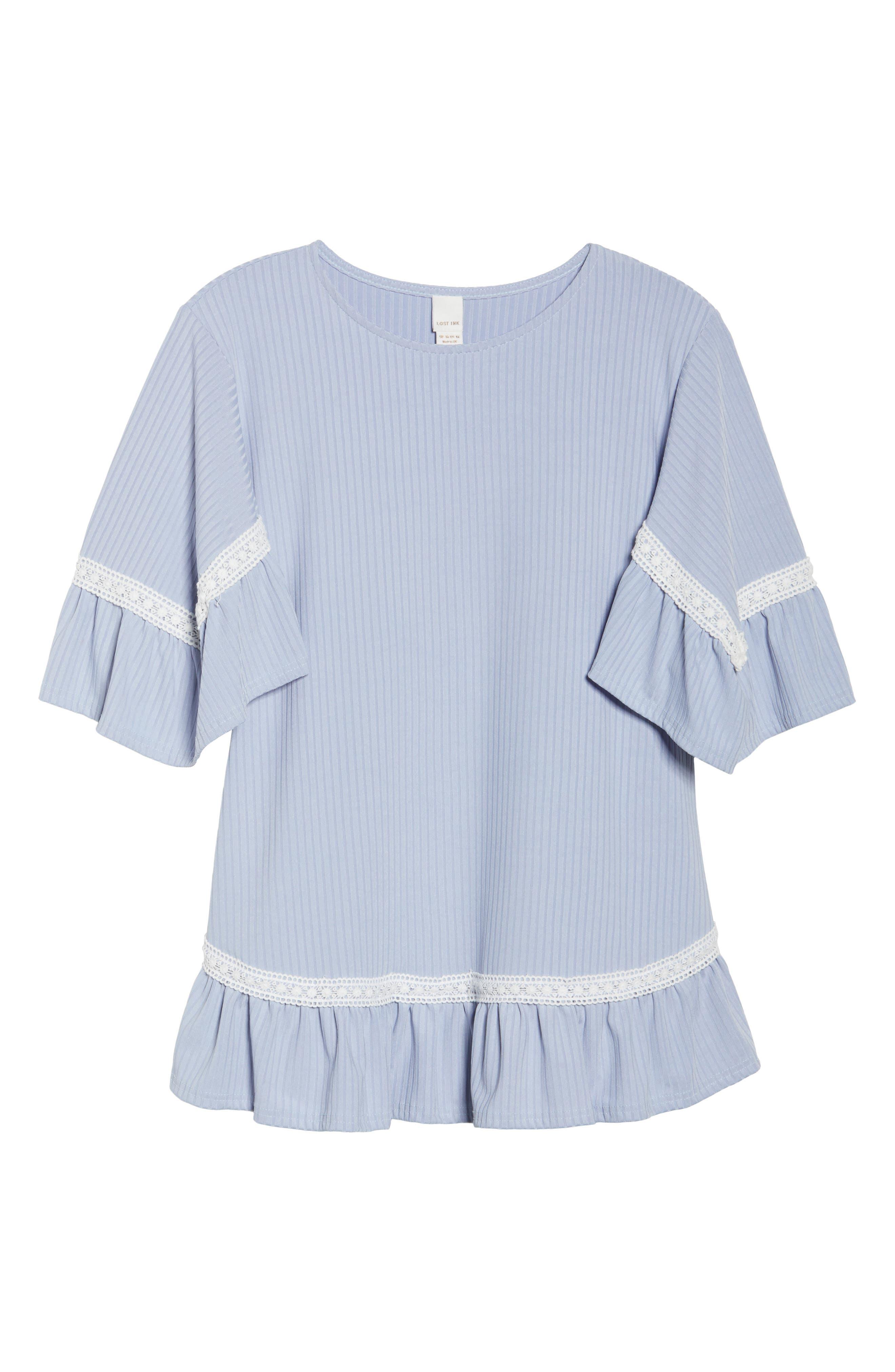 Crochet Lace Trim Top,                             Alternate thumbnail 6, color,                             Blue