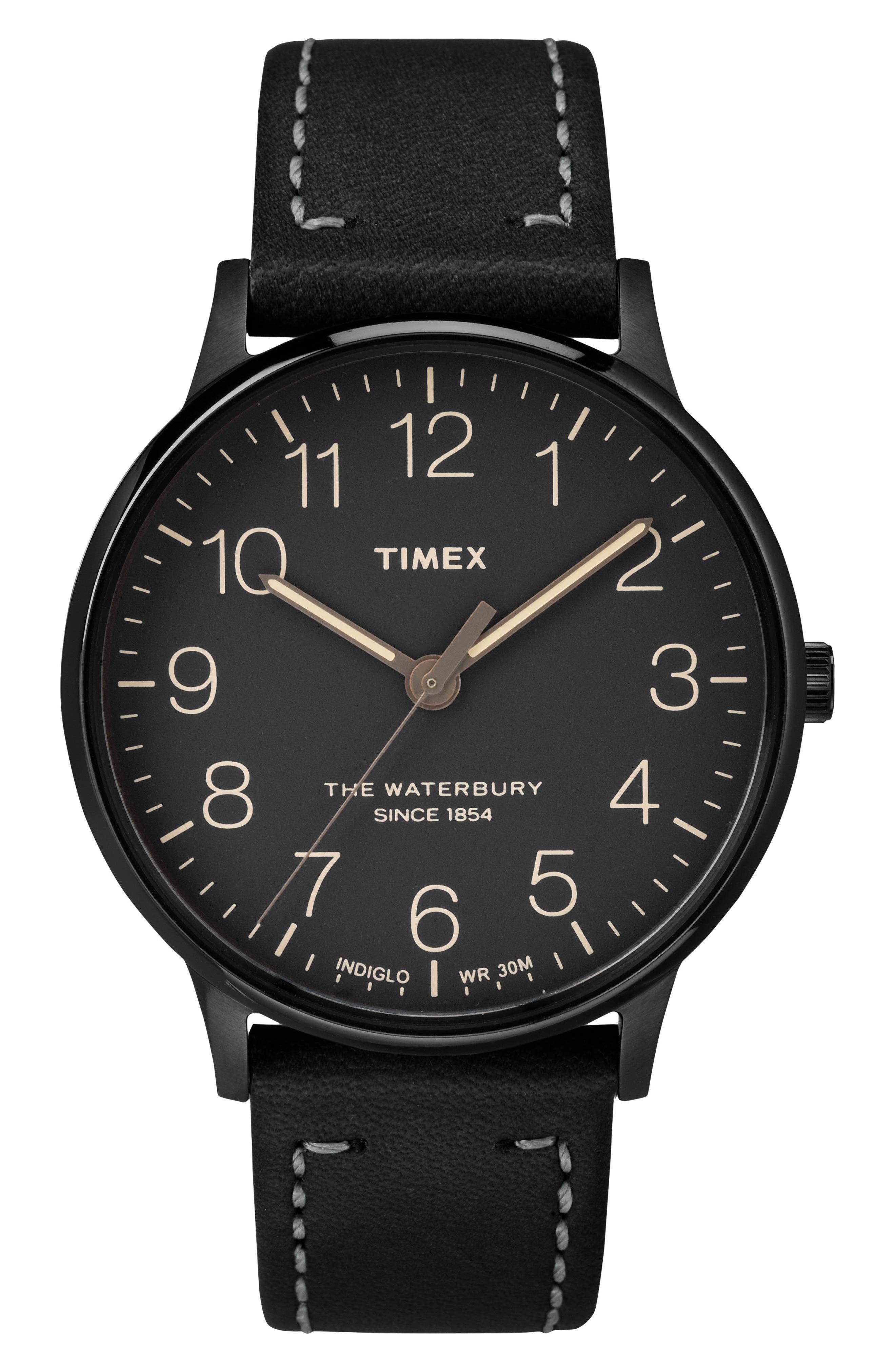 Timex® Waterbury Leather Strap Watch, 40mm