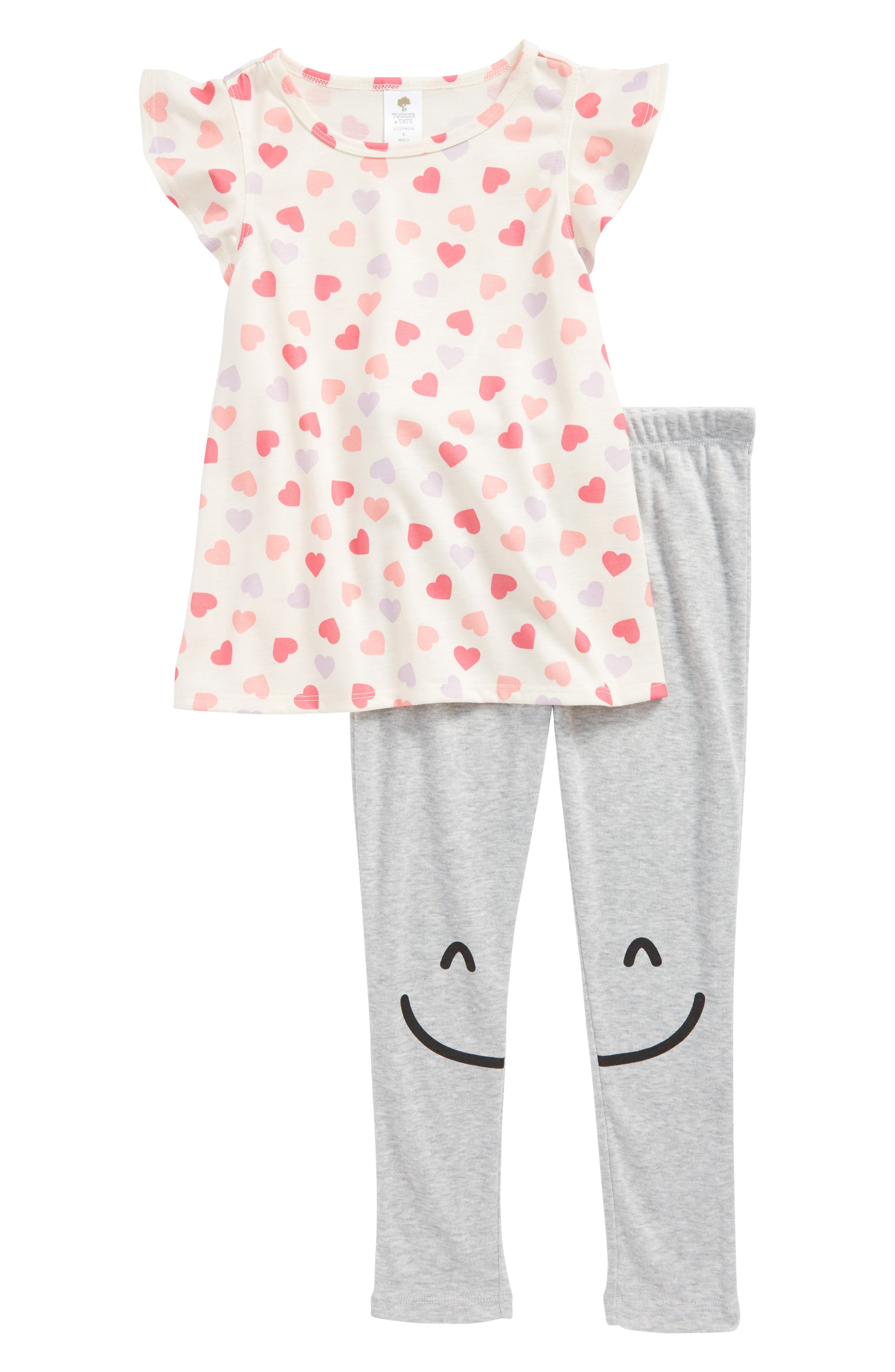 Graphic Print Two-Piece Pajamas,                         Main,                         color, Ivory Egret Multi Hearts