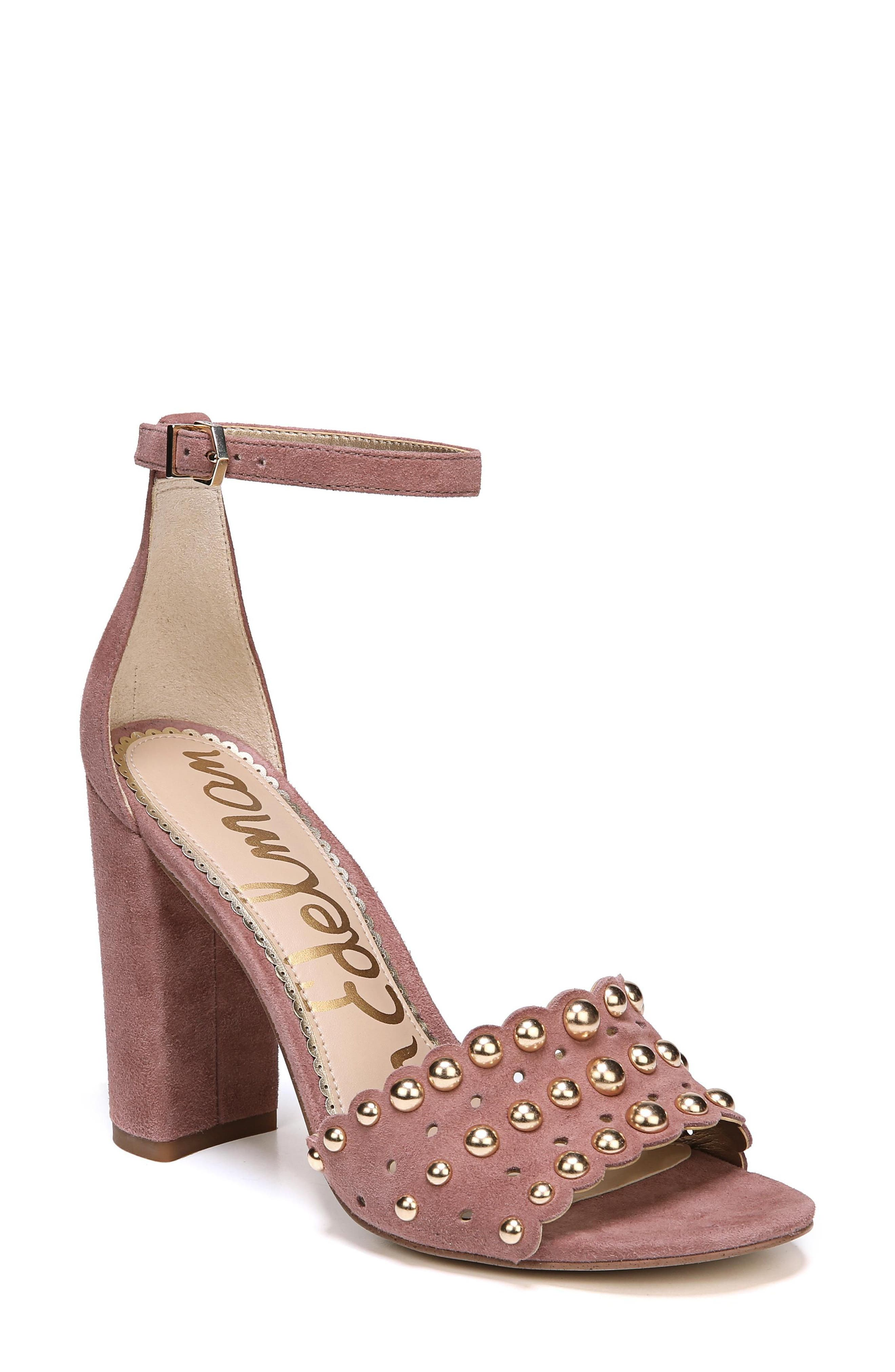 Yaria Studded Block Heel Sandal,                             Main thumbnail 1, color,                             Dusty Rose Suede