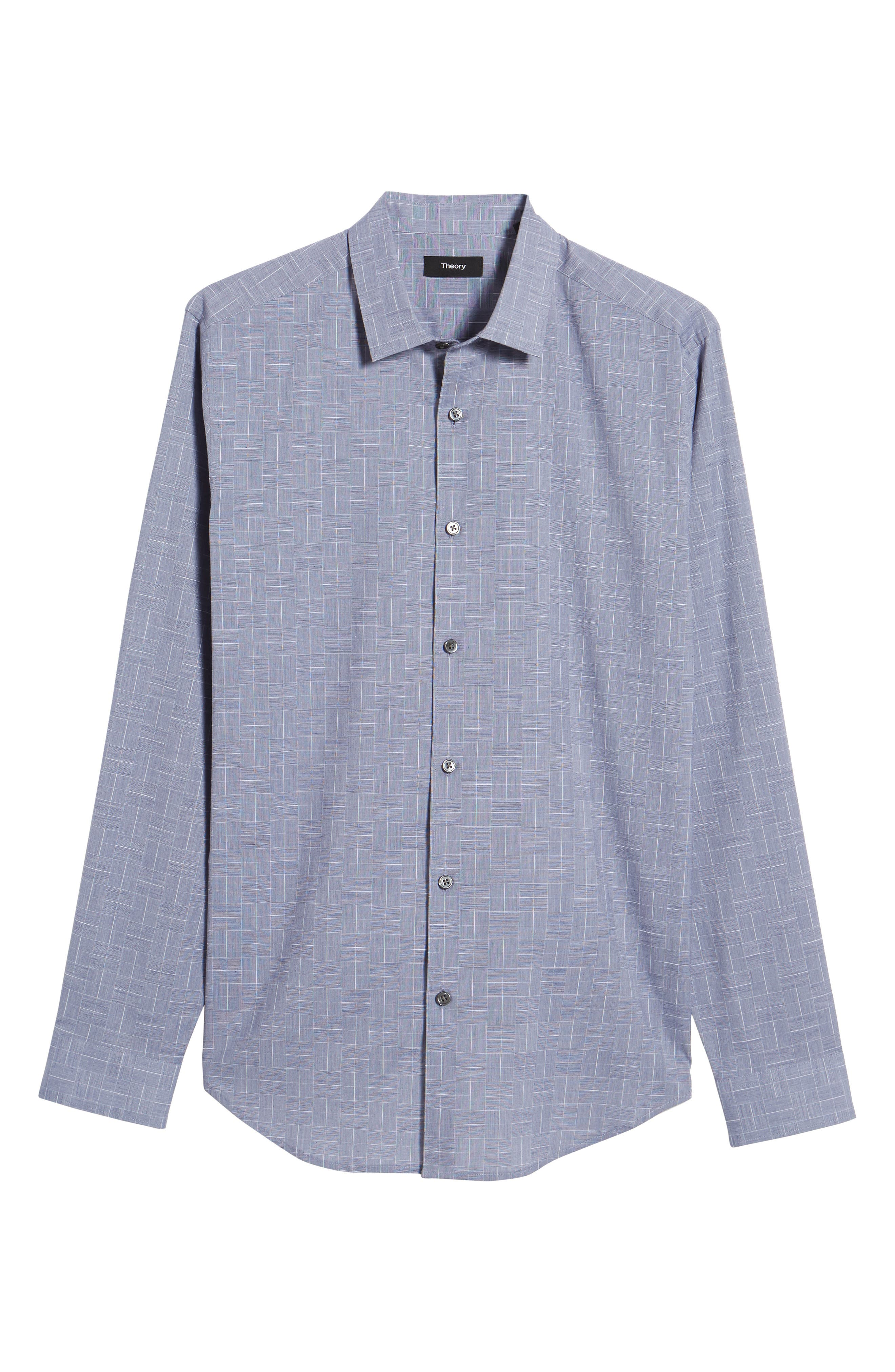 Murrary Indy Regular Fit Solid Cotton & Linen Sport Shirt,                             Alternate thumbnail 6, color,                             Finch