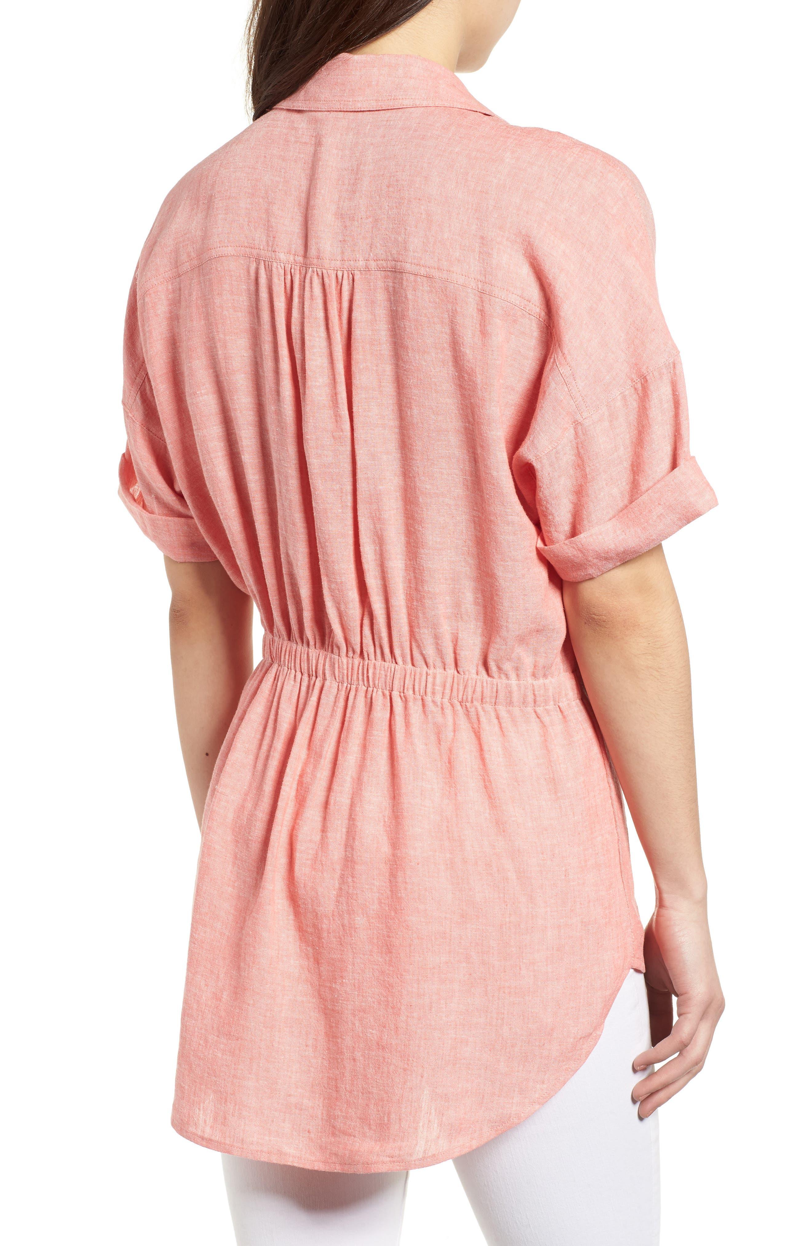 Twist Front Linen Blend Shirt,                             Alternate thumbnail 2, color,                             Coral Rose Crossdye
