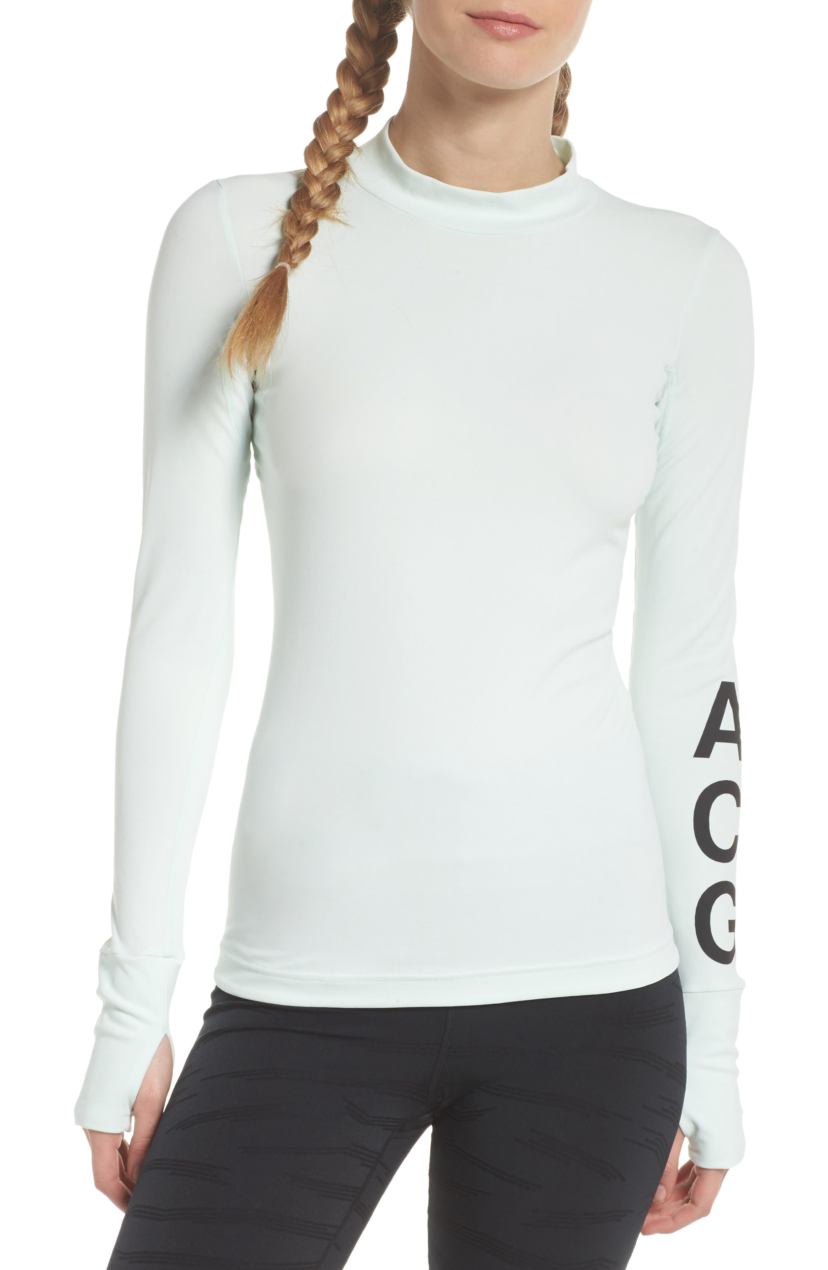 NikeLab ACG Long Sleeve Women's Top,                             Main thumbnail 1, color,                             Barely Green/ Black