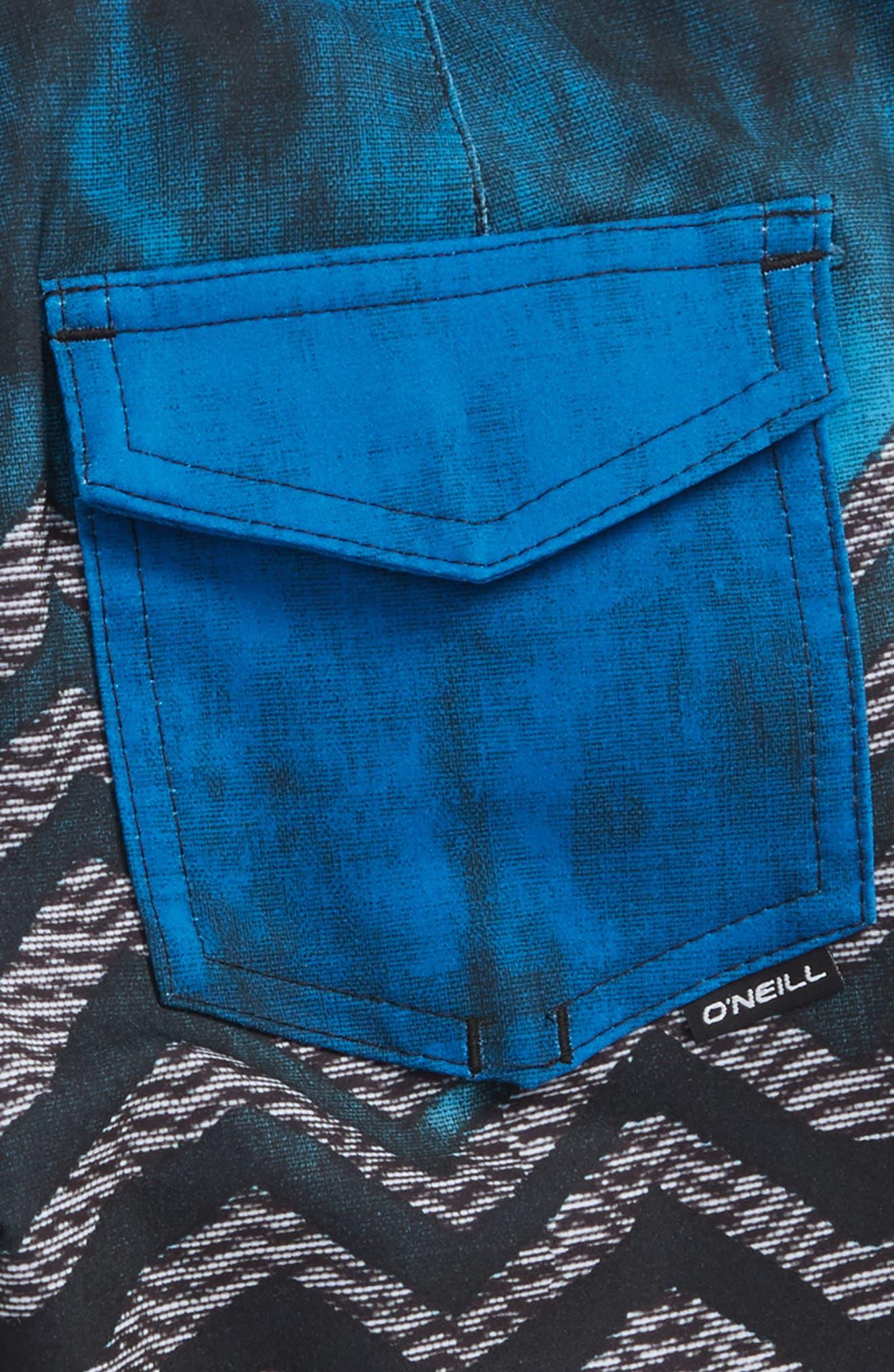 Hyperfreak Zigee Print Board Shorts,                             Alternate thumbnail 3, color,                             Blue