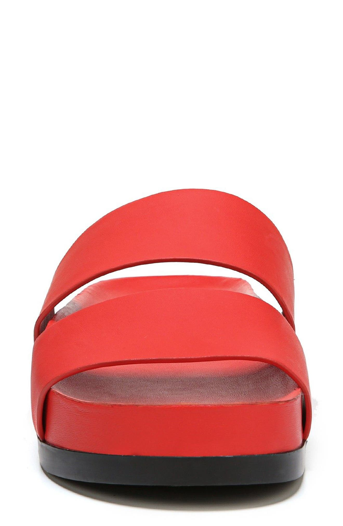 Milton Slide Sandal,                             Alternate thumbnail 4, color,                             Poppy Red Leather