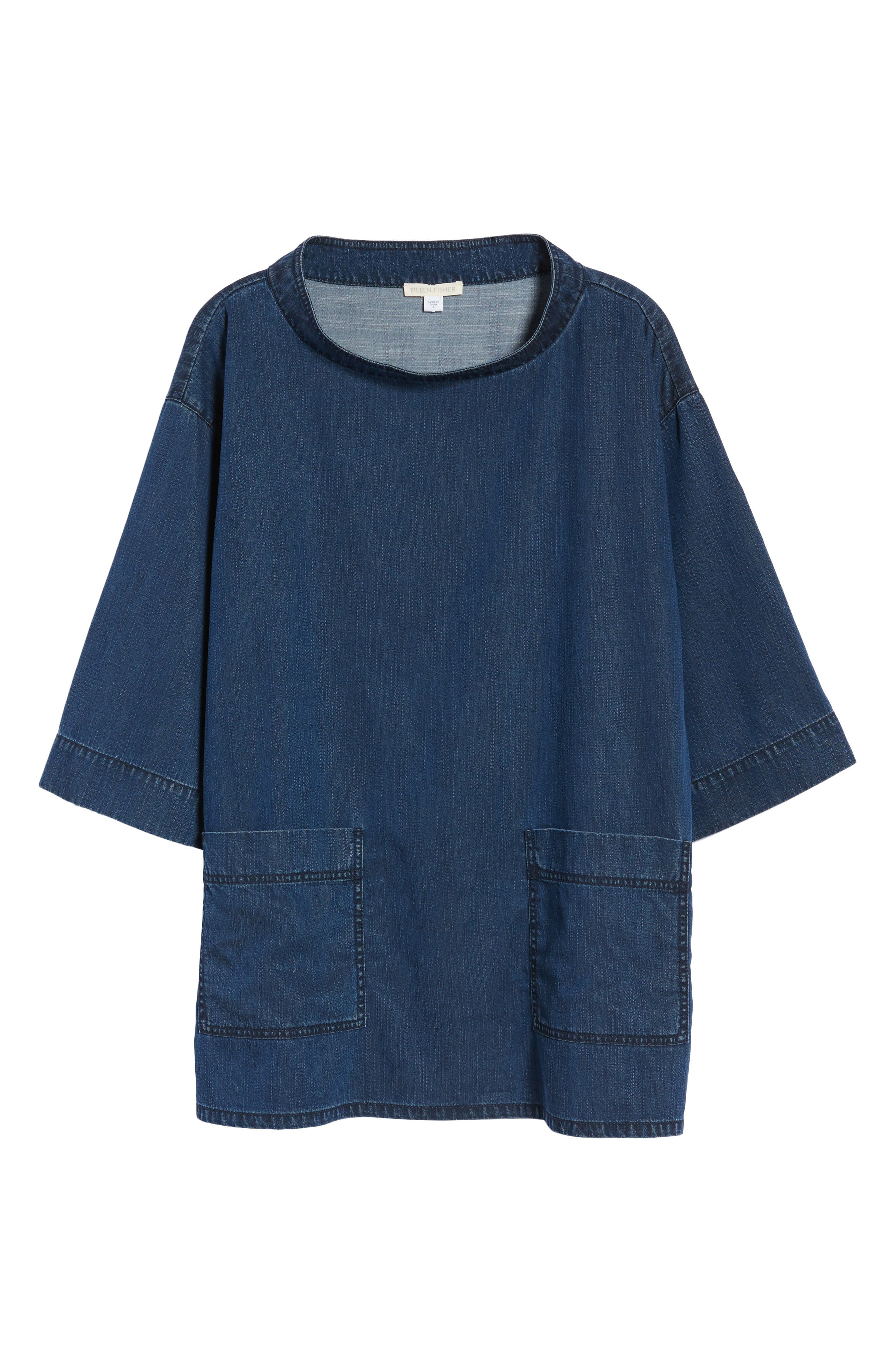Boxy Soft Cotton Top,                             Alternate thumbnail 7, color,                             Midnight