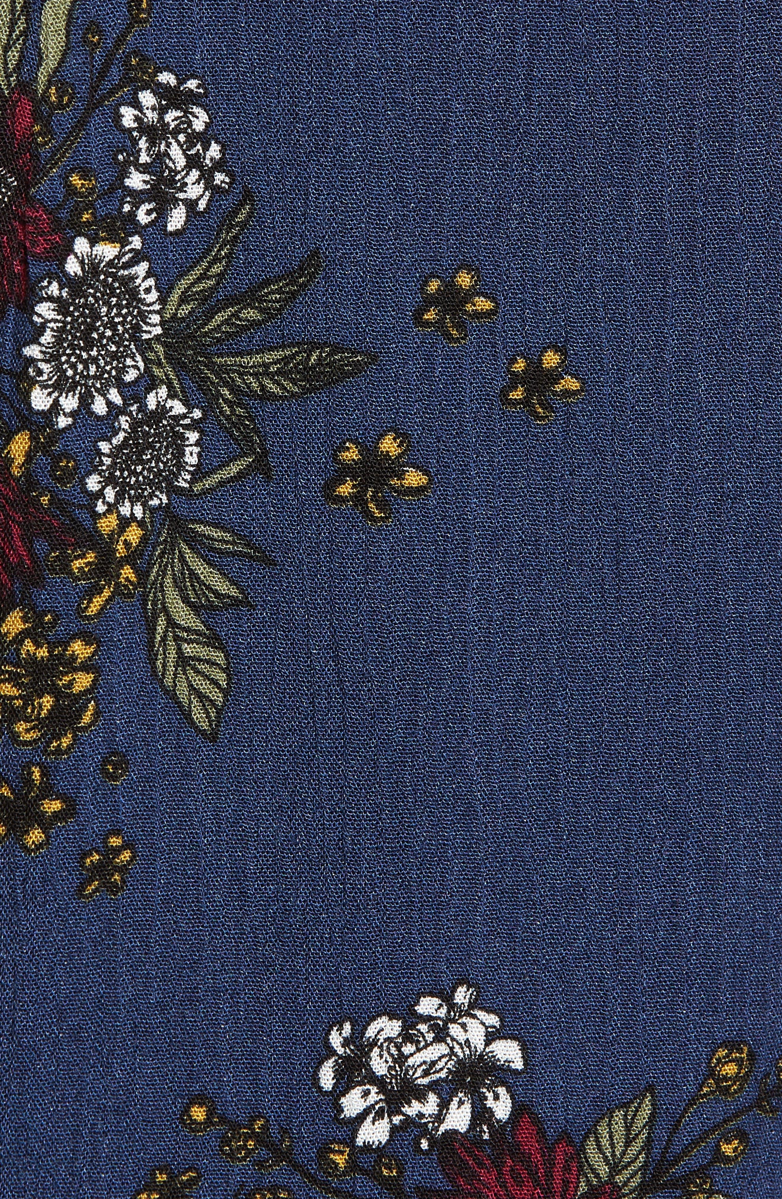 Theia Floral Ruffle Hem Shorts,                             Alternate thumbnail 5, color,                             Navy