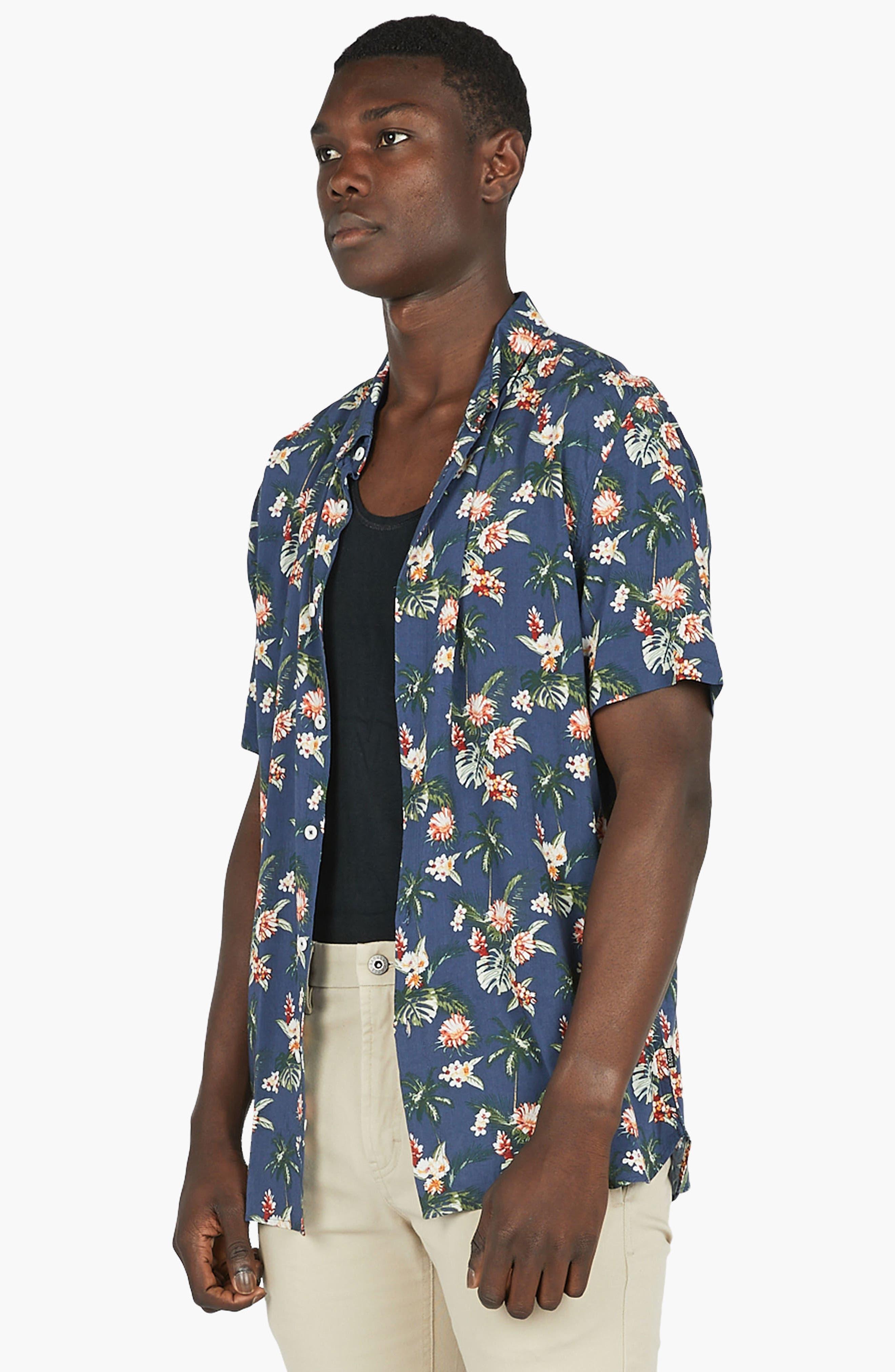 Holiday Woven Shirt,                             Alternate thumbnail 4, color,                             Navy Hawaii