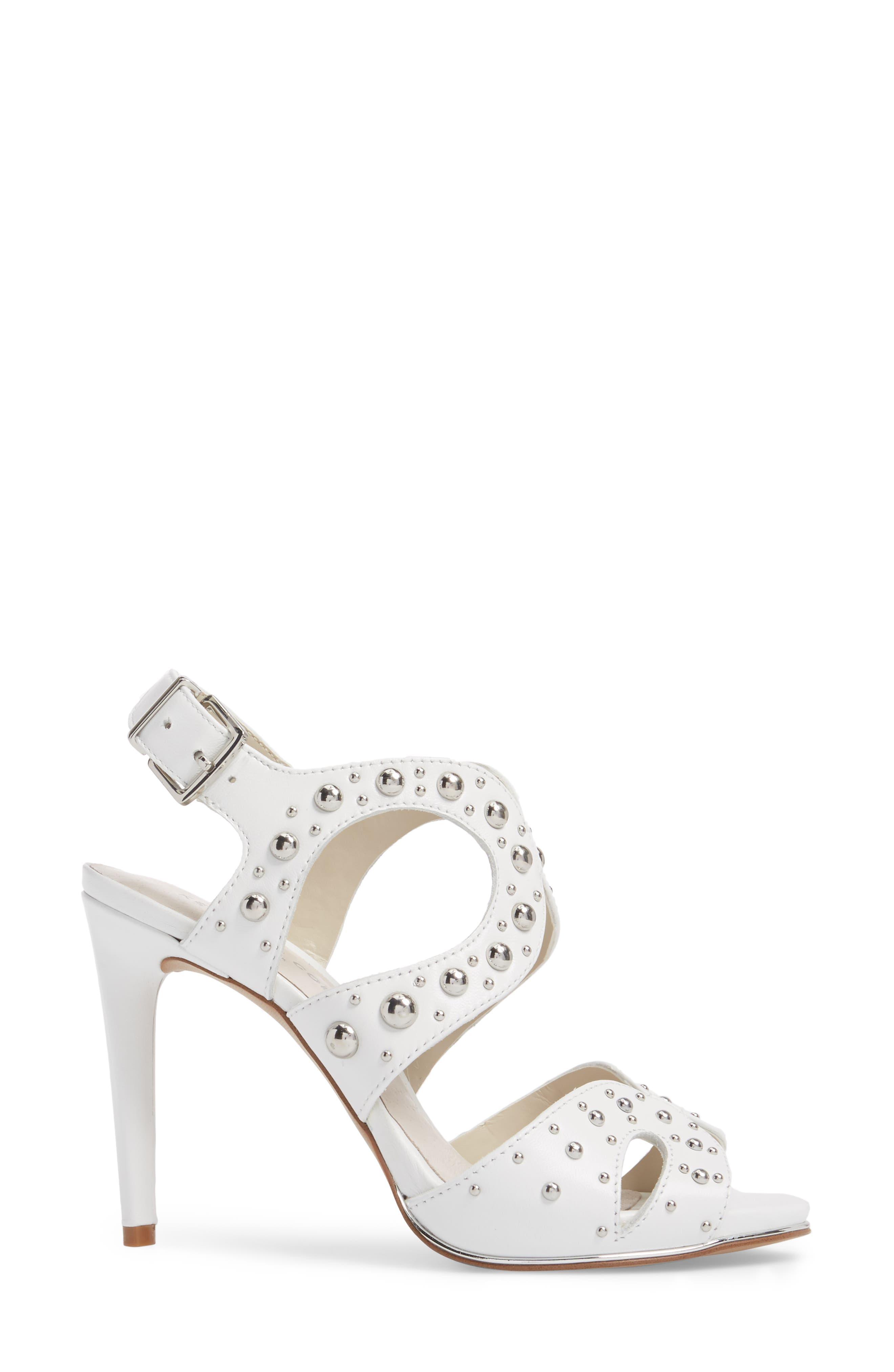 Baldwin Stud Sandal,                             Alternate thumbnail 3, color,                             White Leather