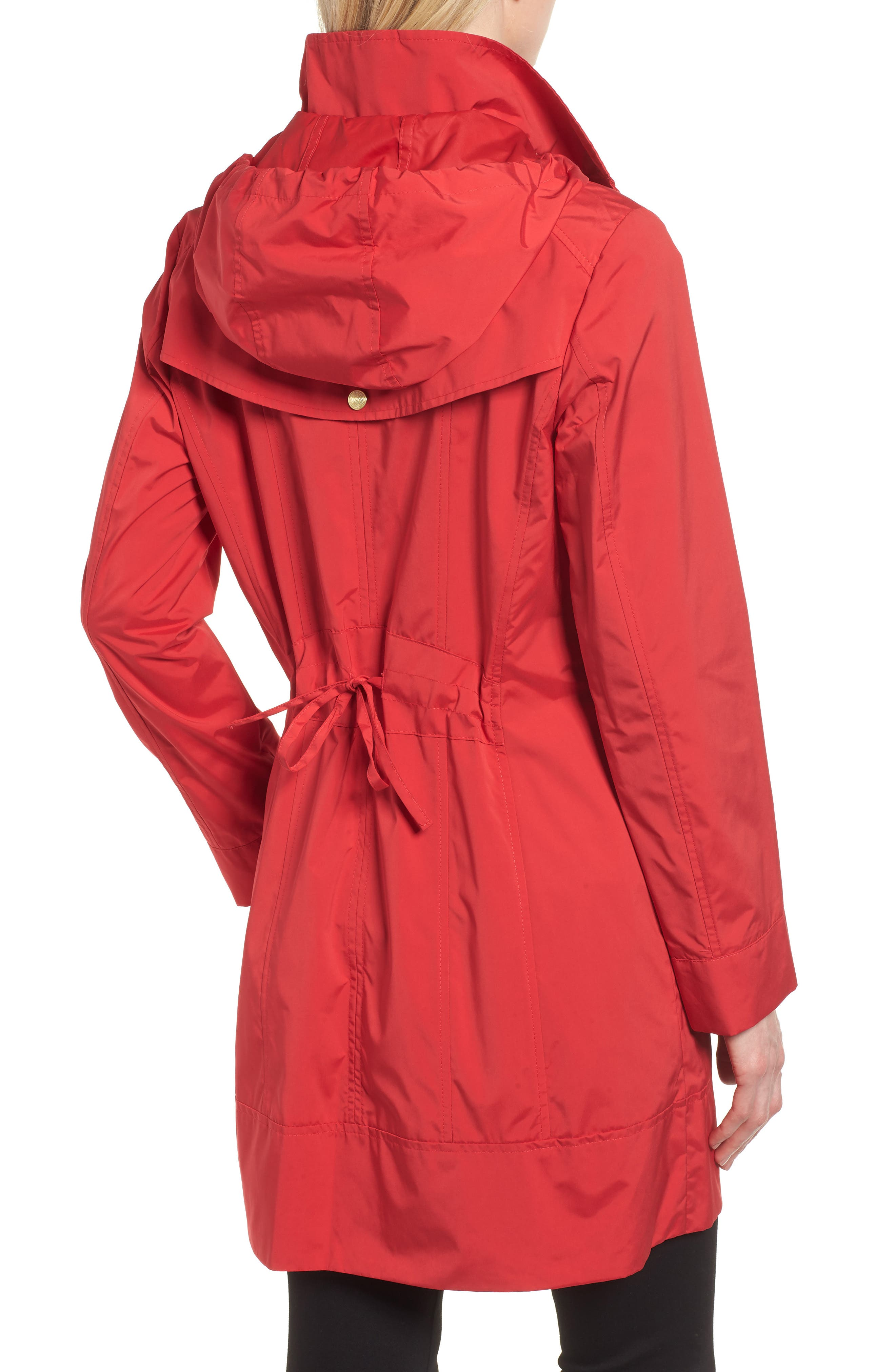 Back Bow Packable Hooded Raincoat,                             Alternate thumbnail 2, color,                             Red