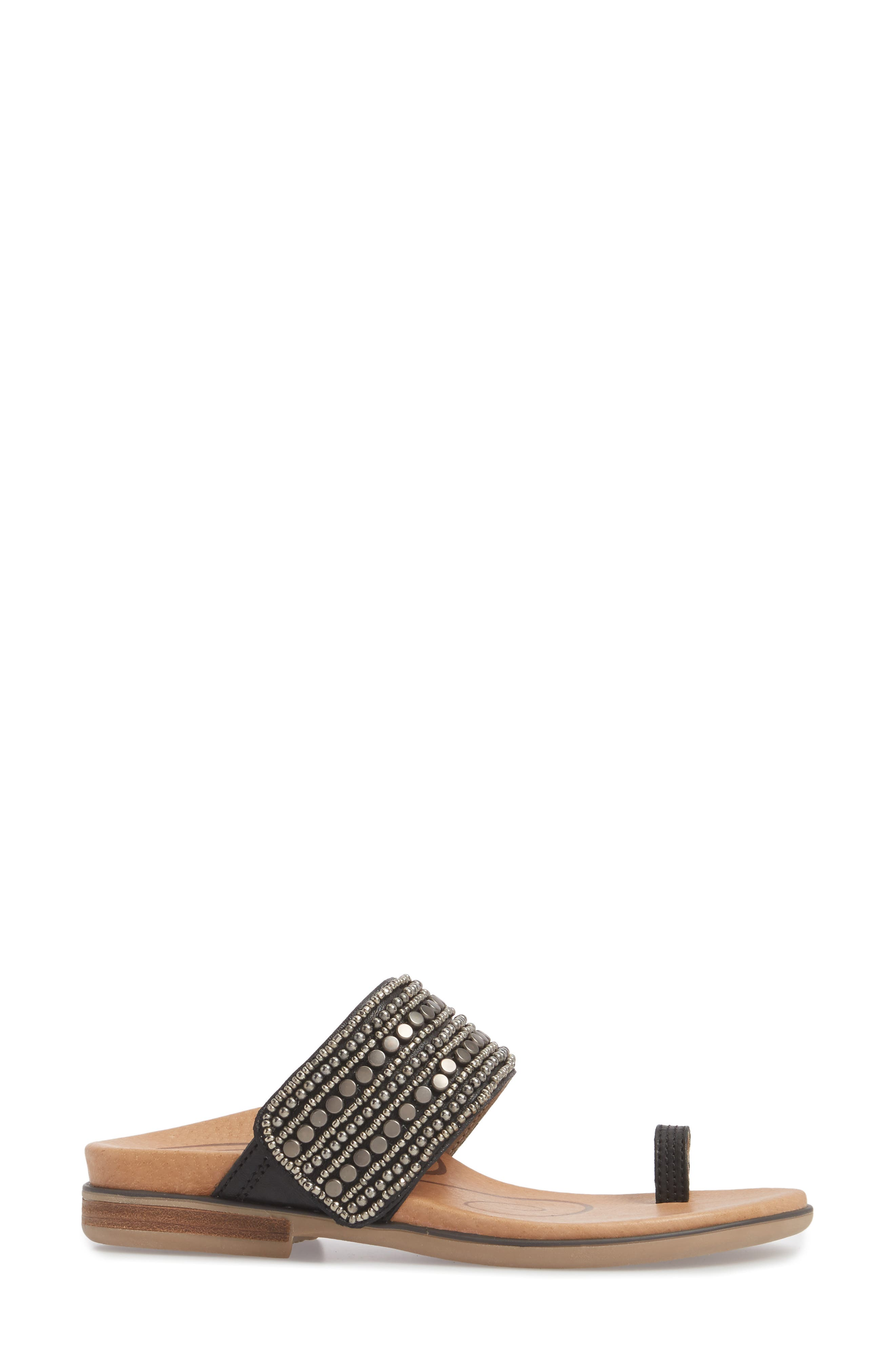 Layla Embellished Slide Sandal,                             Alternate thumbnail 3, color,                             Black Leather