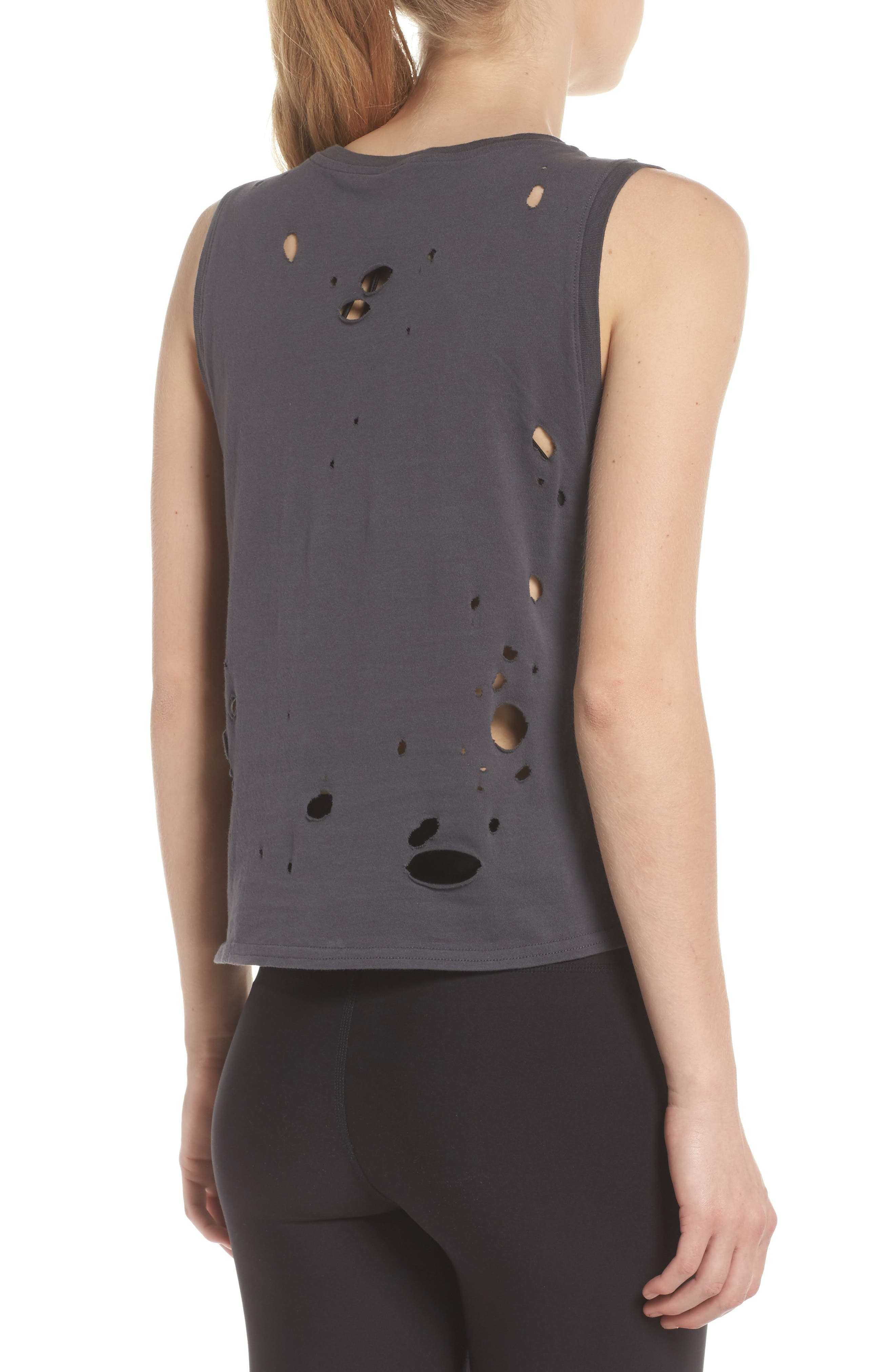 Harley Muscle Tank,                             Alternate thumbnail 2, color,                             Anthracite/ Distressed Holes