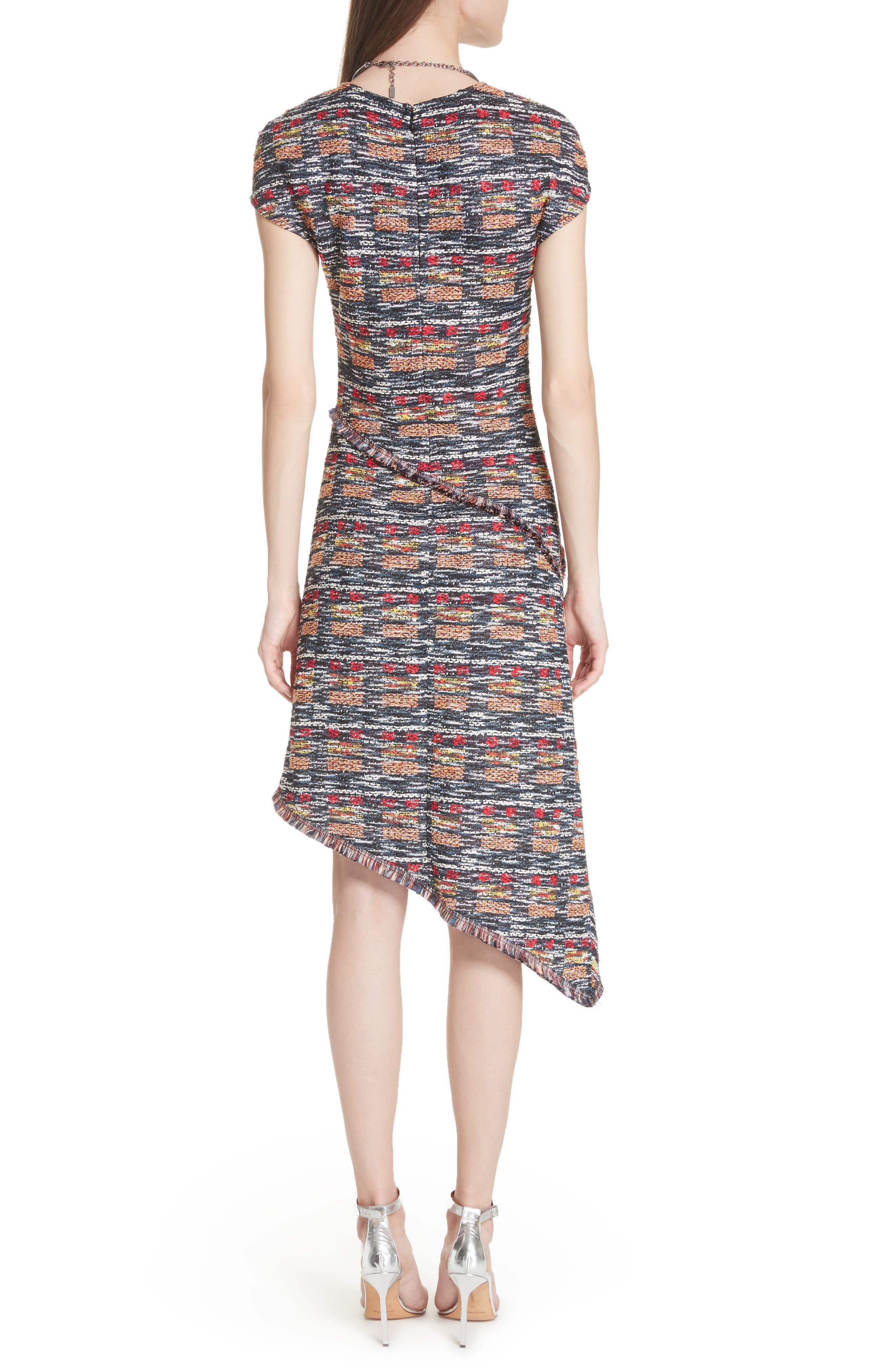 Painterly Tweed Knit Asymmetrical Dress,                             Alternate thumbnail 2, color,                             Caviar Multi