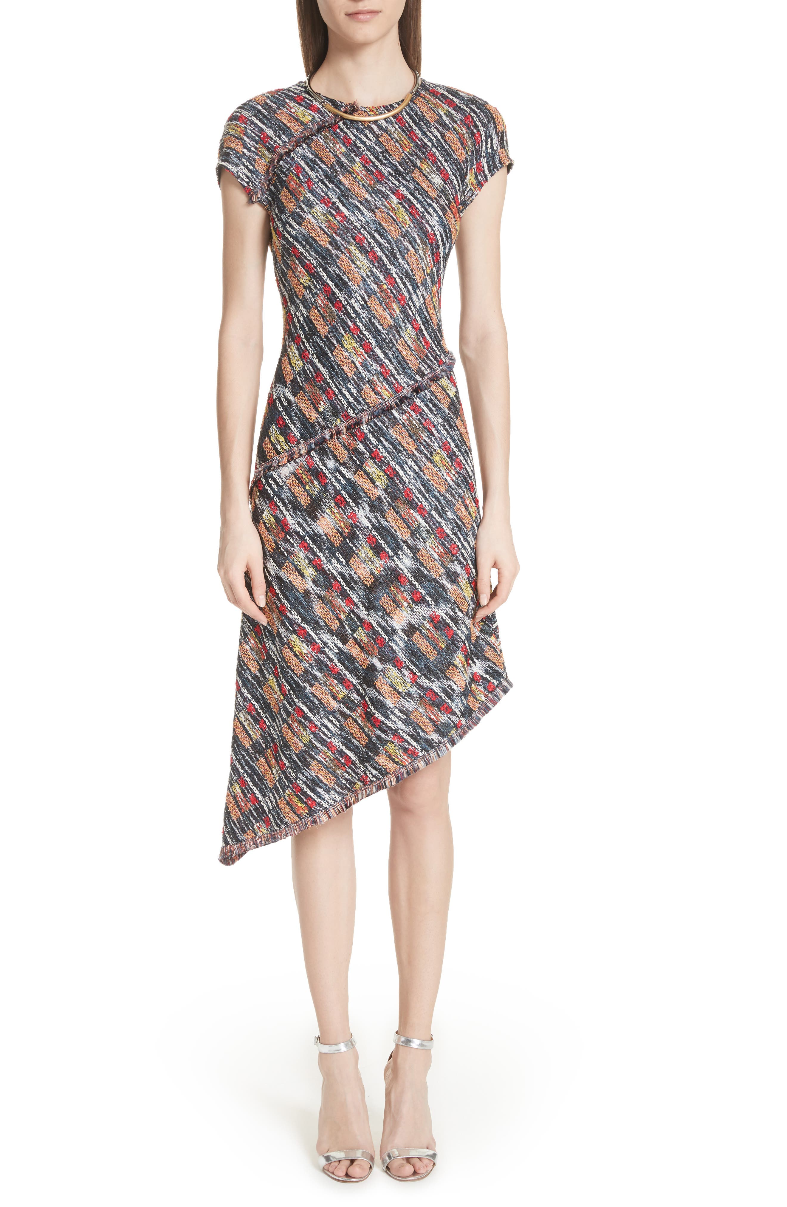 Painterly Tweed Knit Asymmetrical Dress,                             Main thumbnail 1, color,                             Caviar Multi