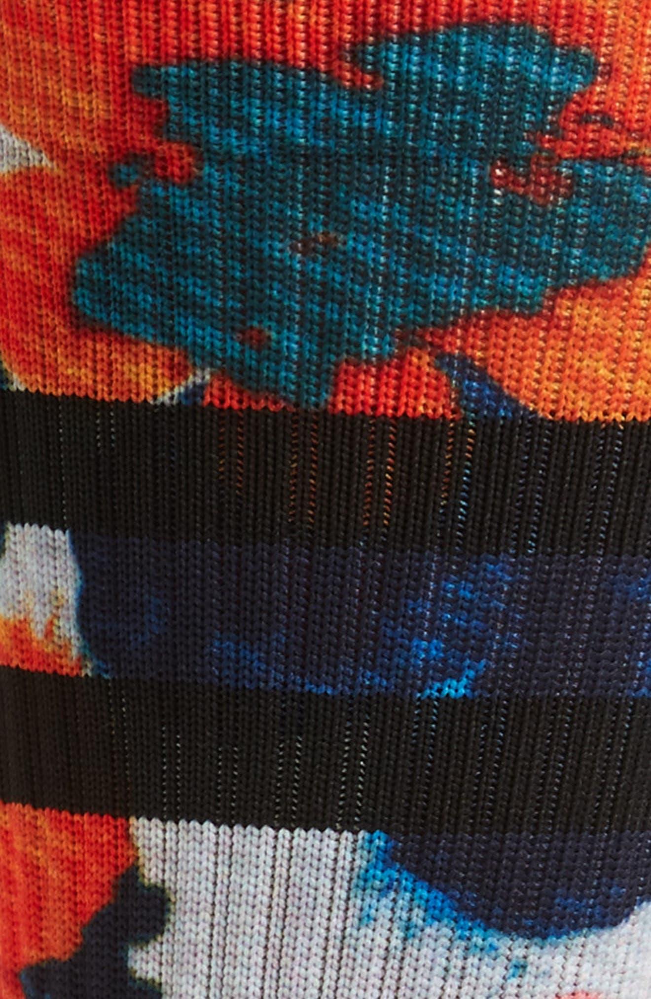 Frangipani Floral Socks,                             Alternate thumbnail 2, color,                             Black/ Orange Multi