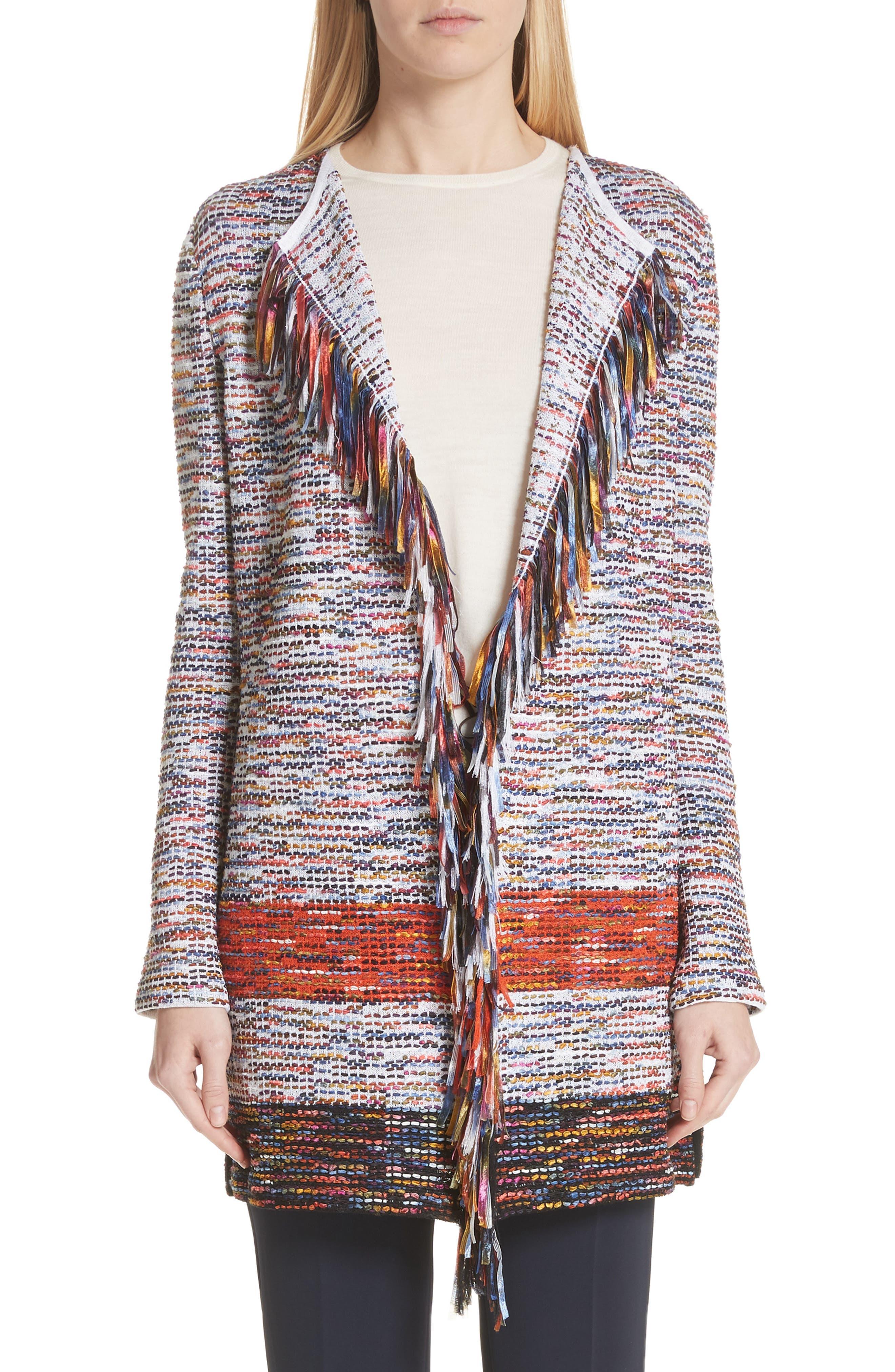 St. John Collection Vertical Fringe Multi Tweed Knit Waterfall Cardigan