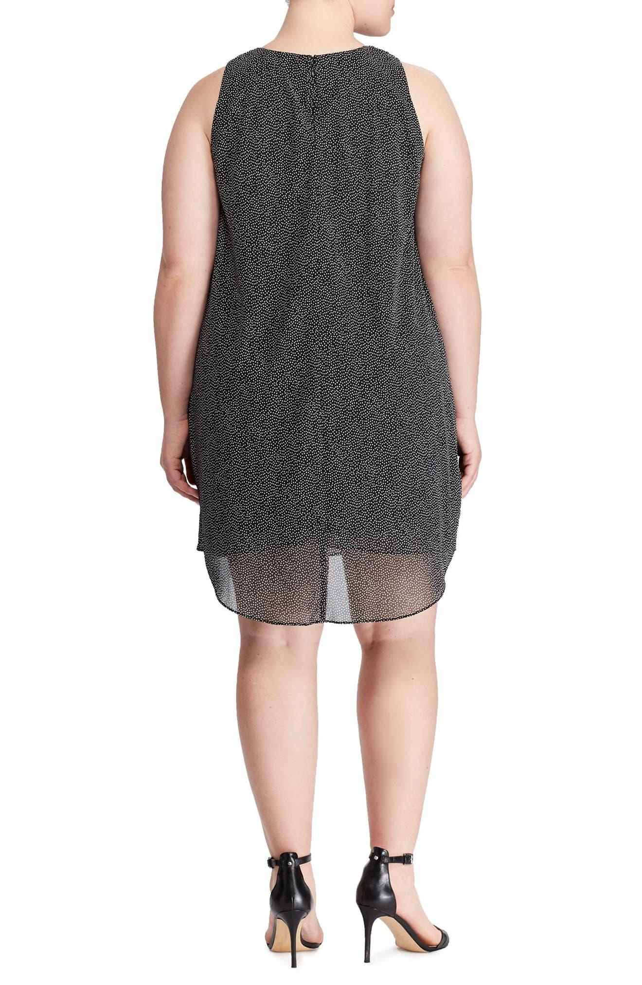 Dot Print Layered Georgette Dress,                             Alternate thumbnail 2, color,                             Black-Colonial Cream