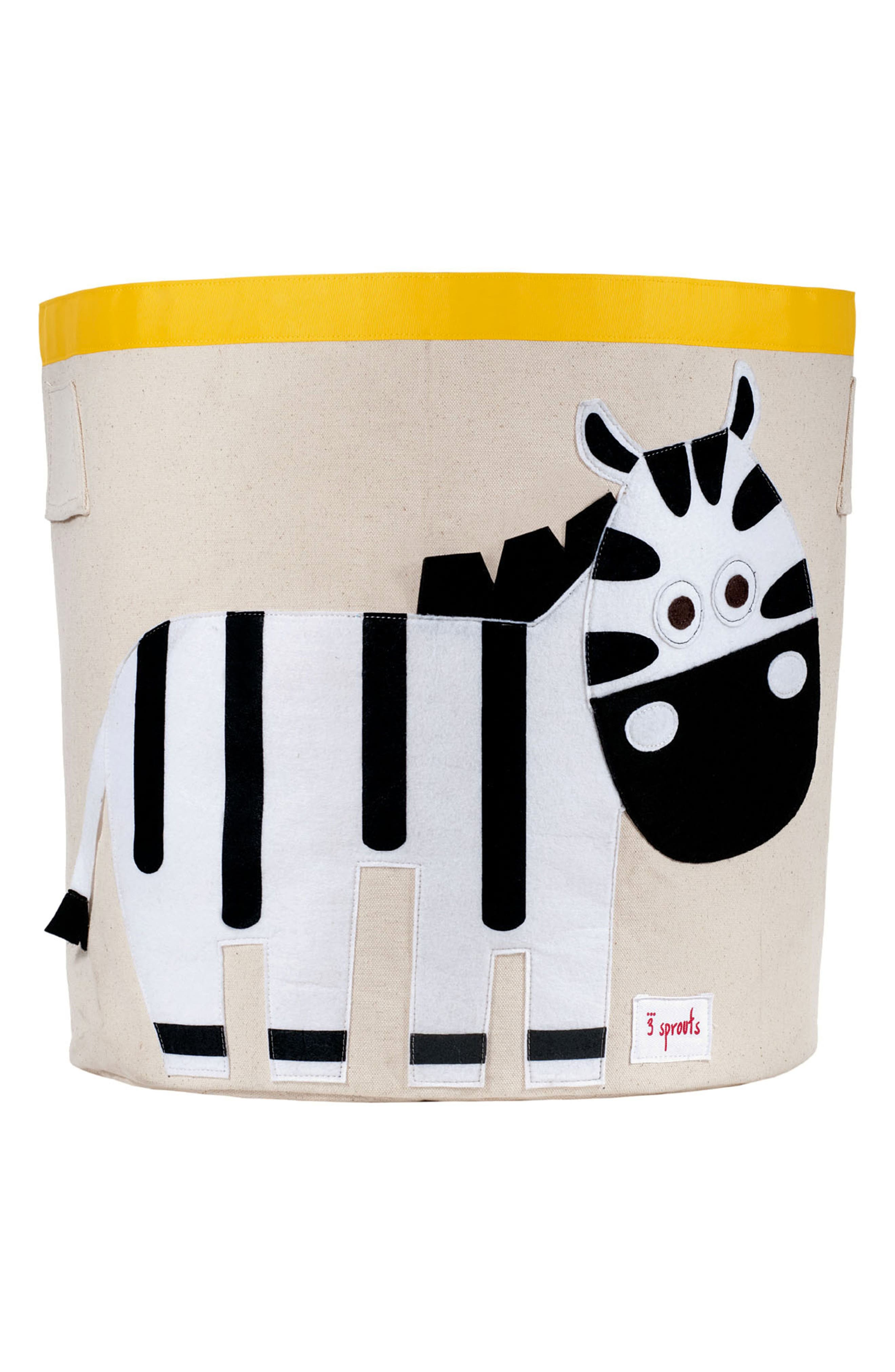 Zebra Canvas Storage Bin,                             Main thumbnail 1, color,                             Black/White