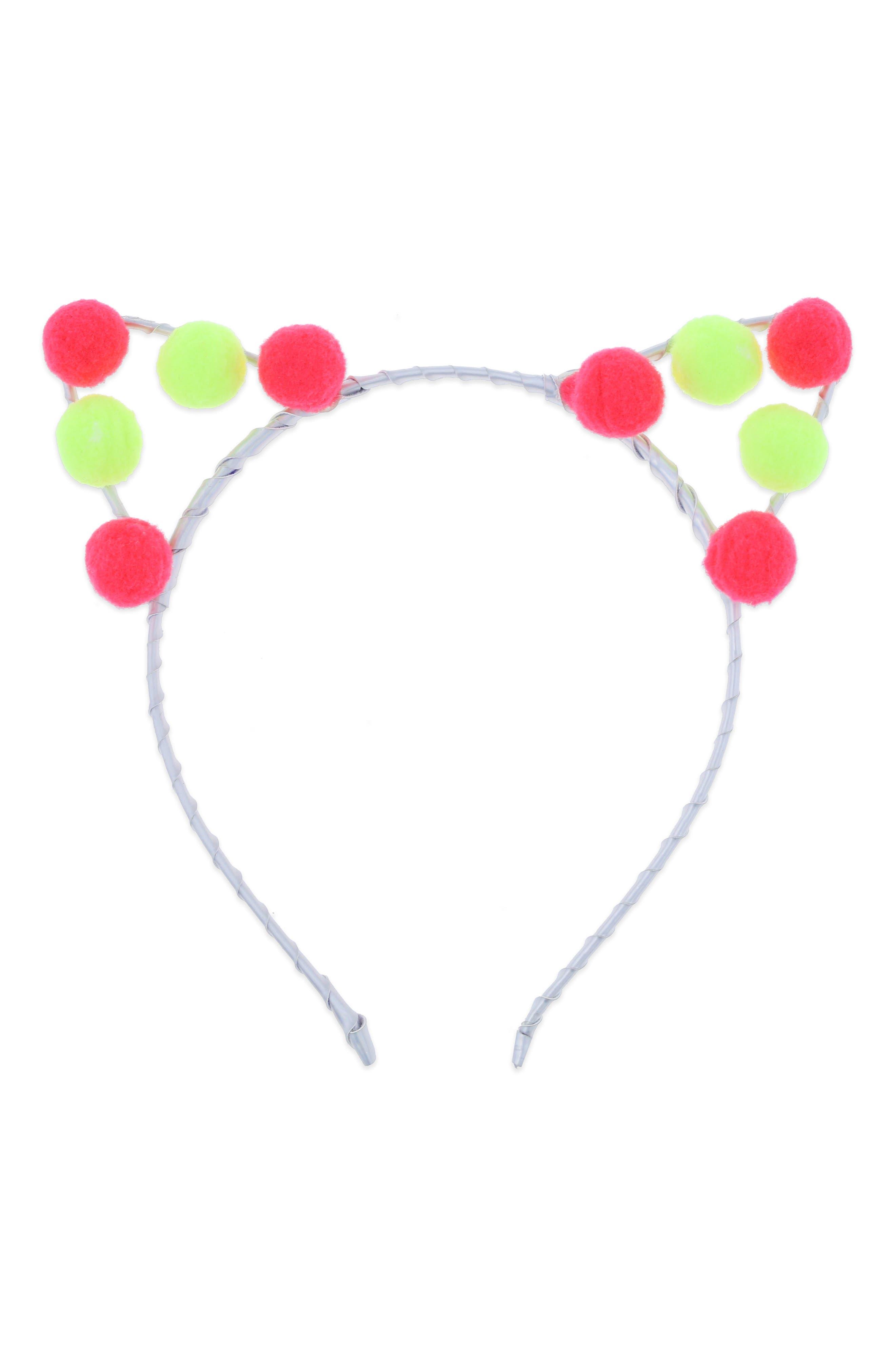 Alternate Image 1 Selected - Capelli New York Pompom Cat Ear Headband (Girls)