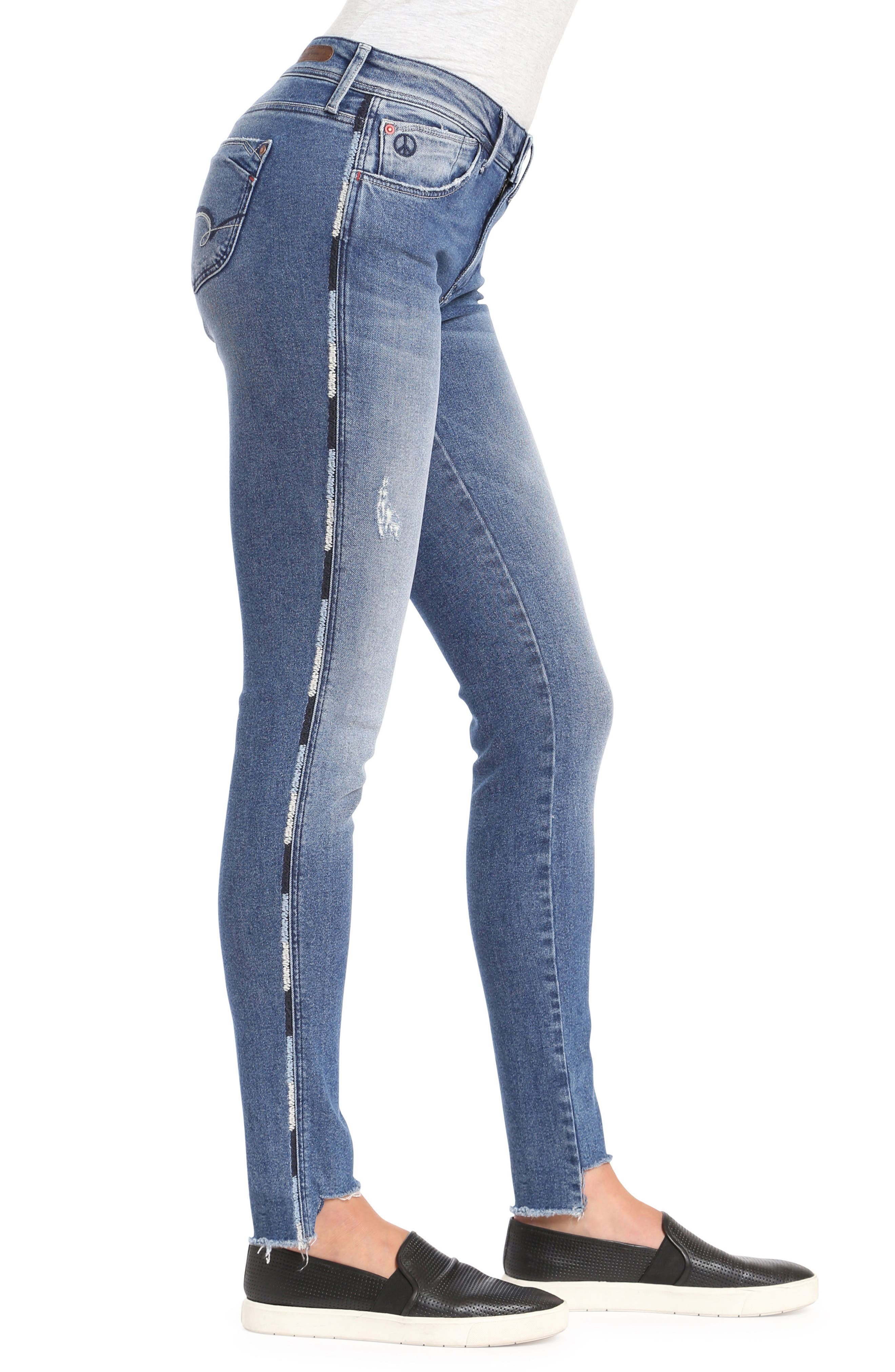 Adriana Contrast Side Stripe Skinny Jeans,                             Alternate thumbnail 3, color,                             Mid Cheeky