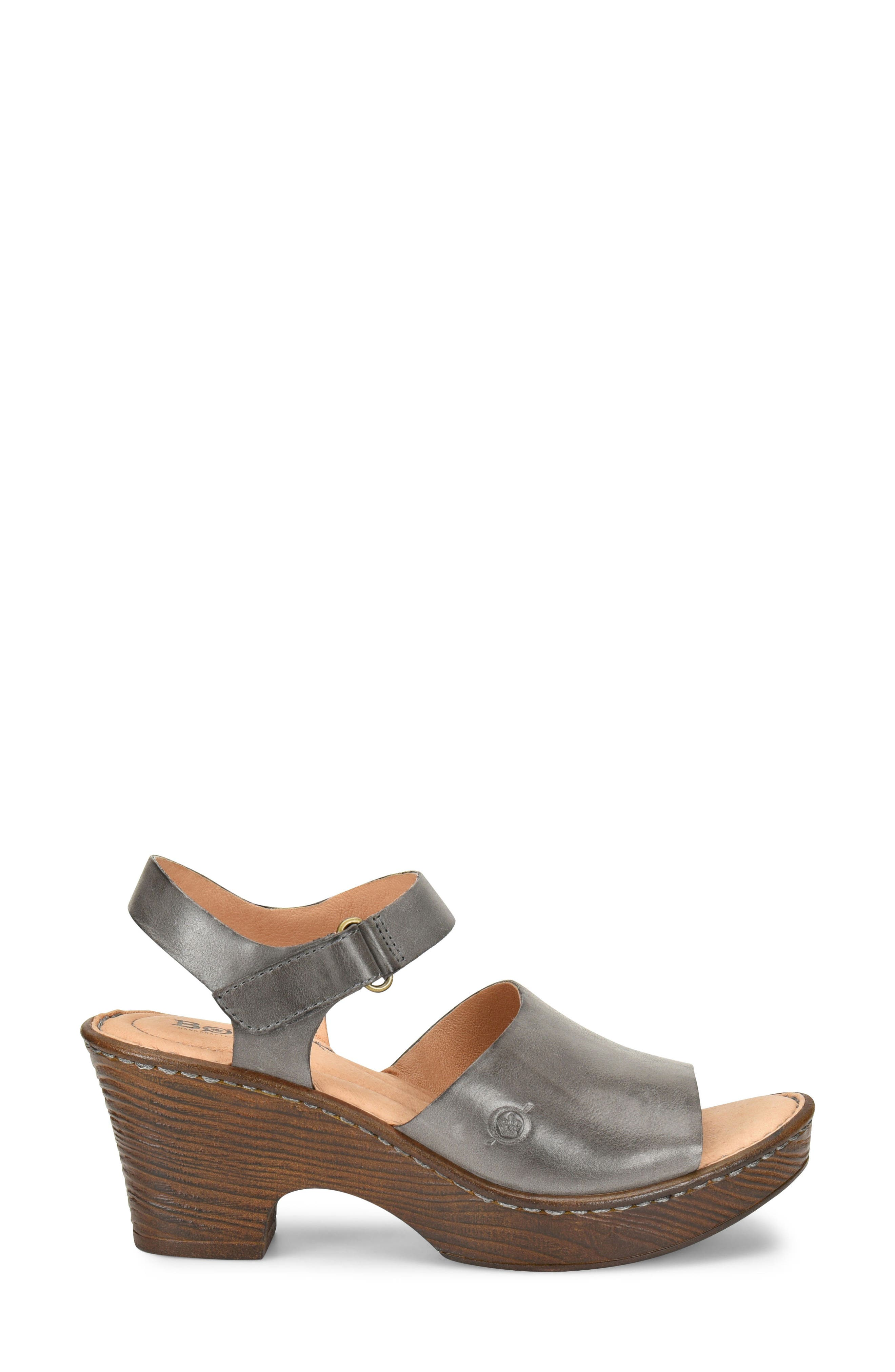 Canna Platform Sandal,                             Alternate thumbnail 3, color,                             Grey Leather