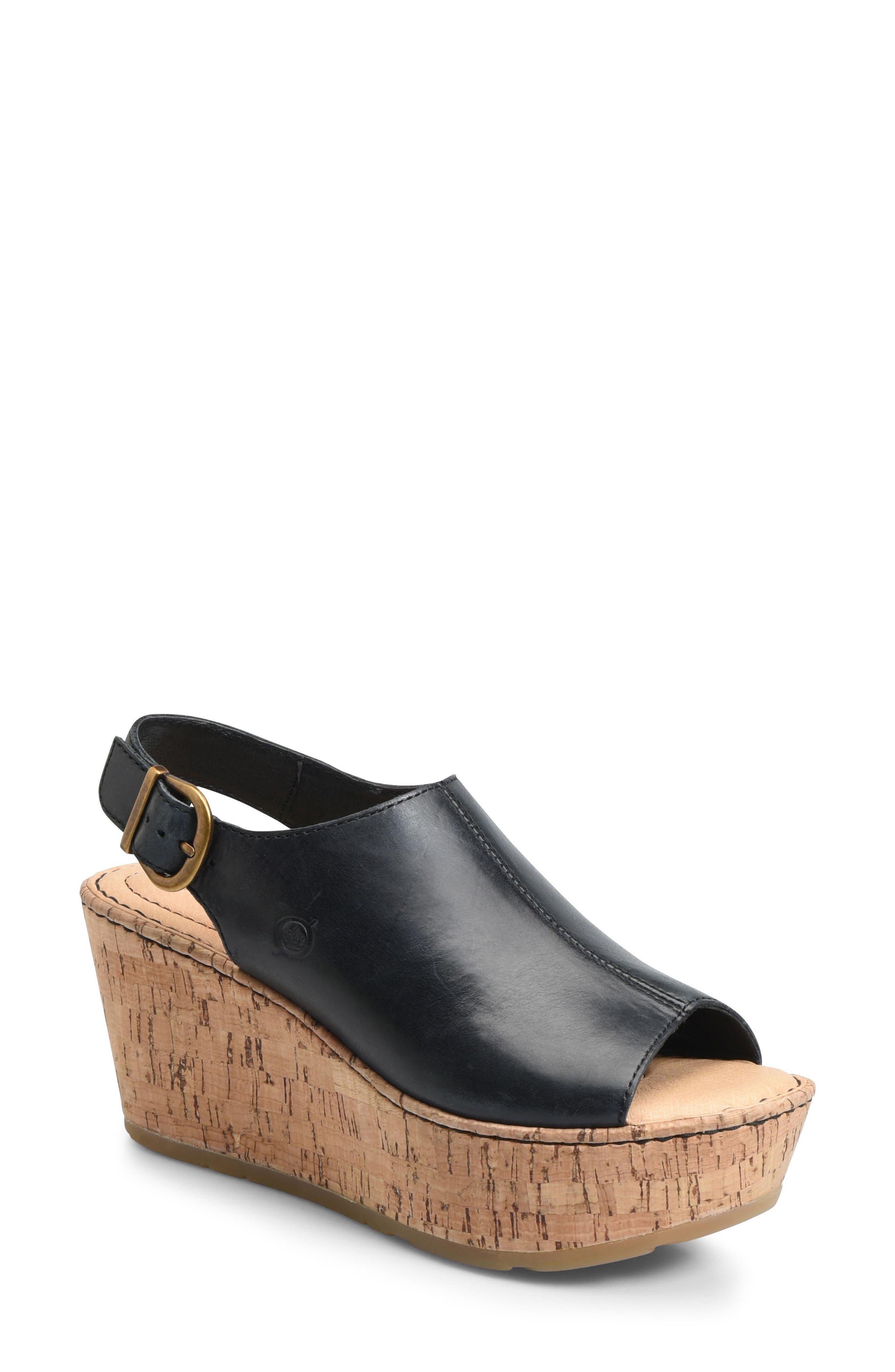 Orbit Platform Wedge Sandal,                         Main,                         color, Black Leather